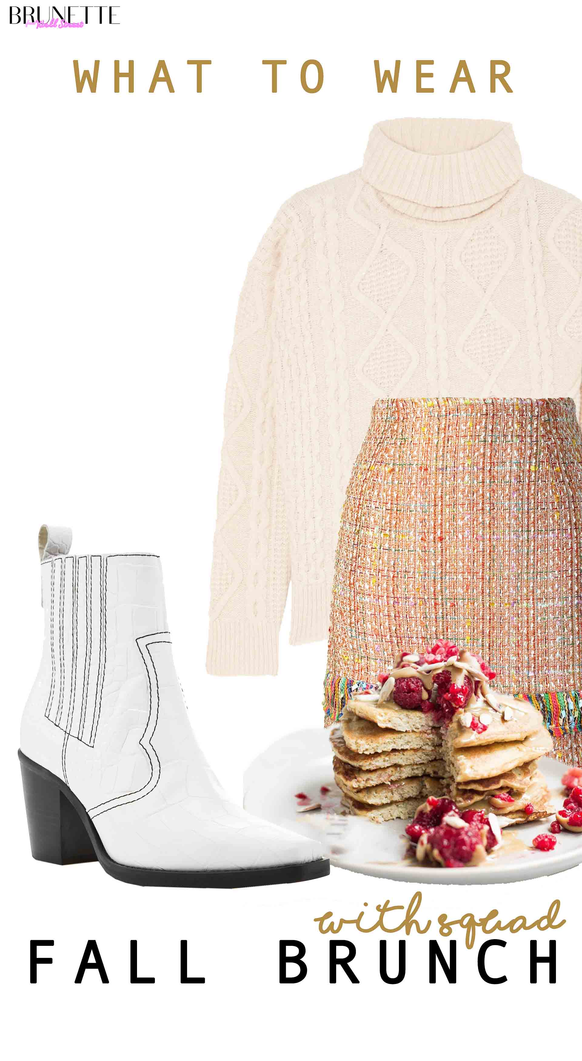 pancakes, Ganni boots mini skirt, sweater with text overlay What to wear for fall brunch with squad