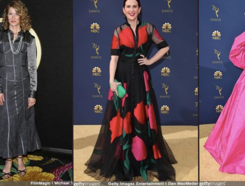 LAURA DERN, MEGAN MULLALLY, Tracee Ellis Ross red carpet 70th Emmy Awards