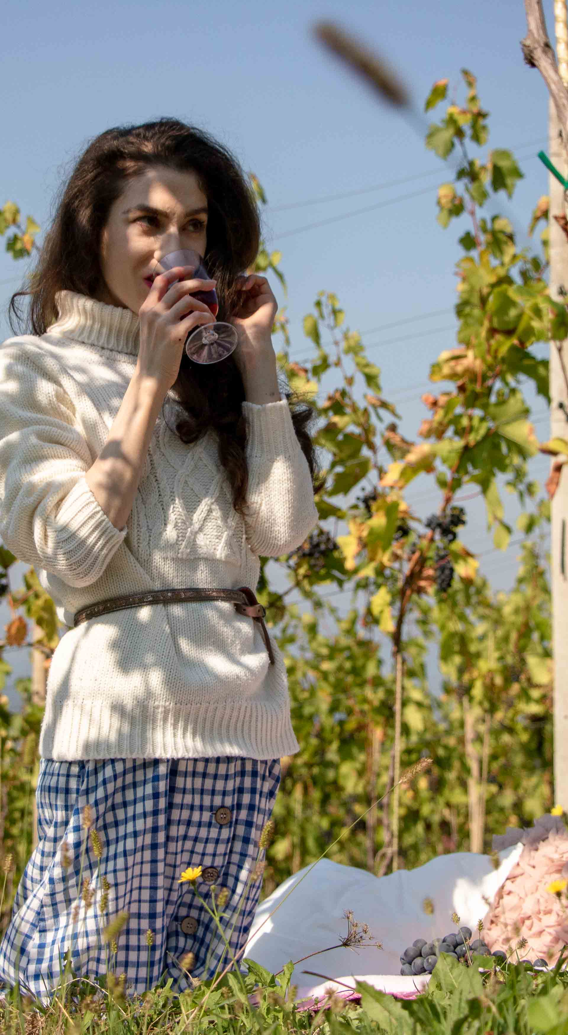 Beautiful Slovenian Fashion Blogger Veronika Lipar of Brunette from Wall wearing blue and white check button down Mango dress, oversized white turtleneck sweater, dangling belt, drinking a glass of red wine at fall picnic in countryside