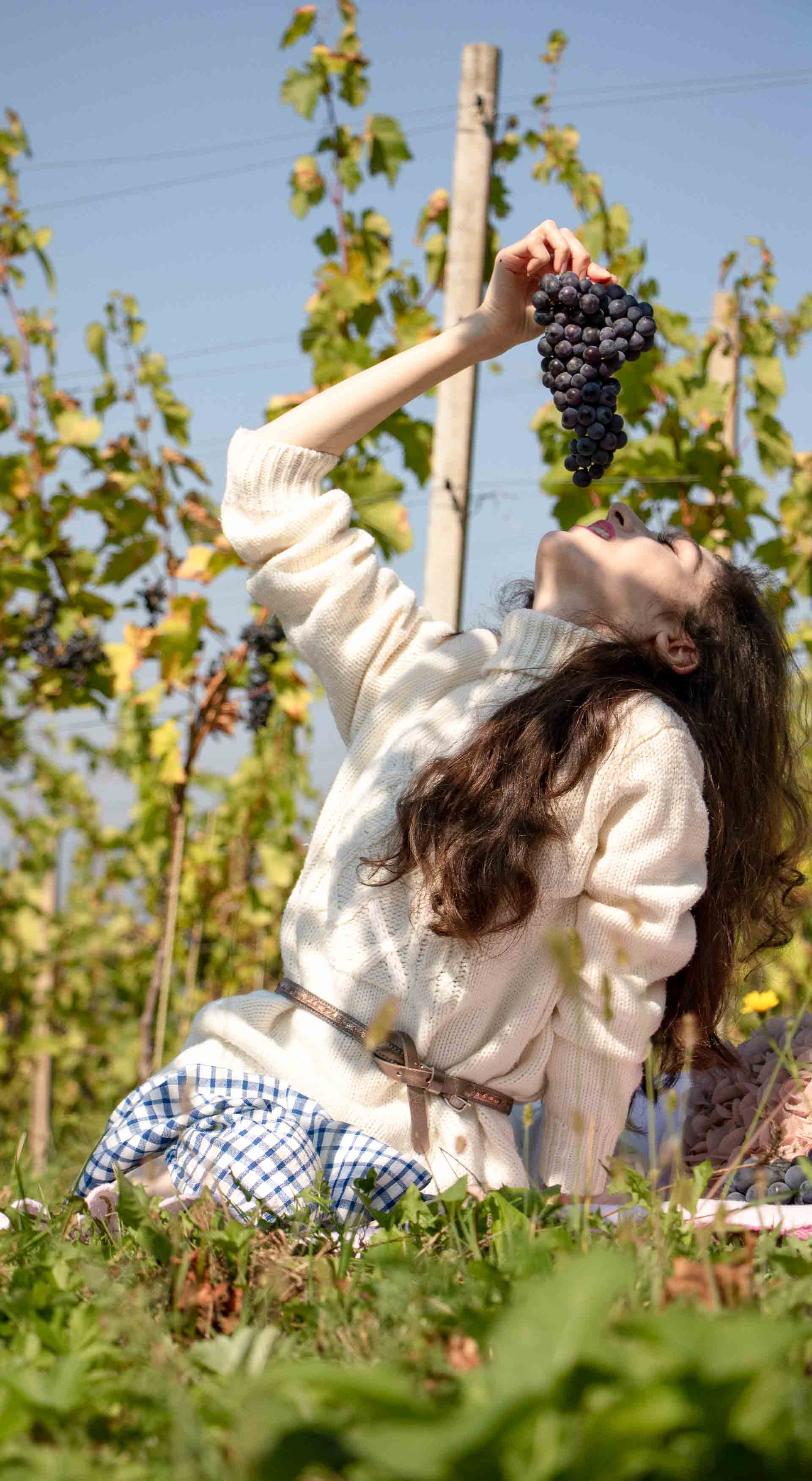 Beautiful Slovenian Fashion Blogger Veronika Lipar of Brunette from Wall Street wearing blue and white check button down Mango dress, oversized white turtleneck sweater, dangling belt, for fall picnic in countryside eating grapes