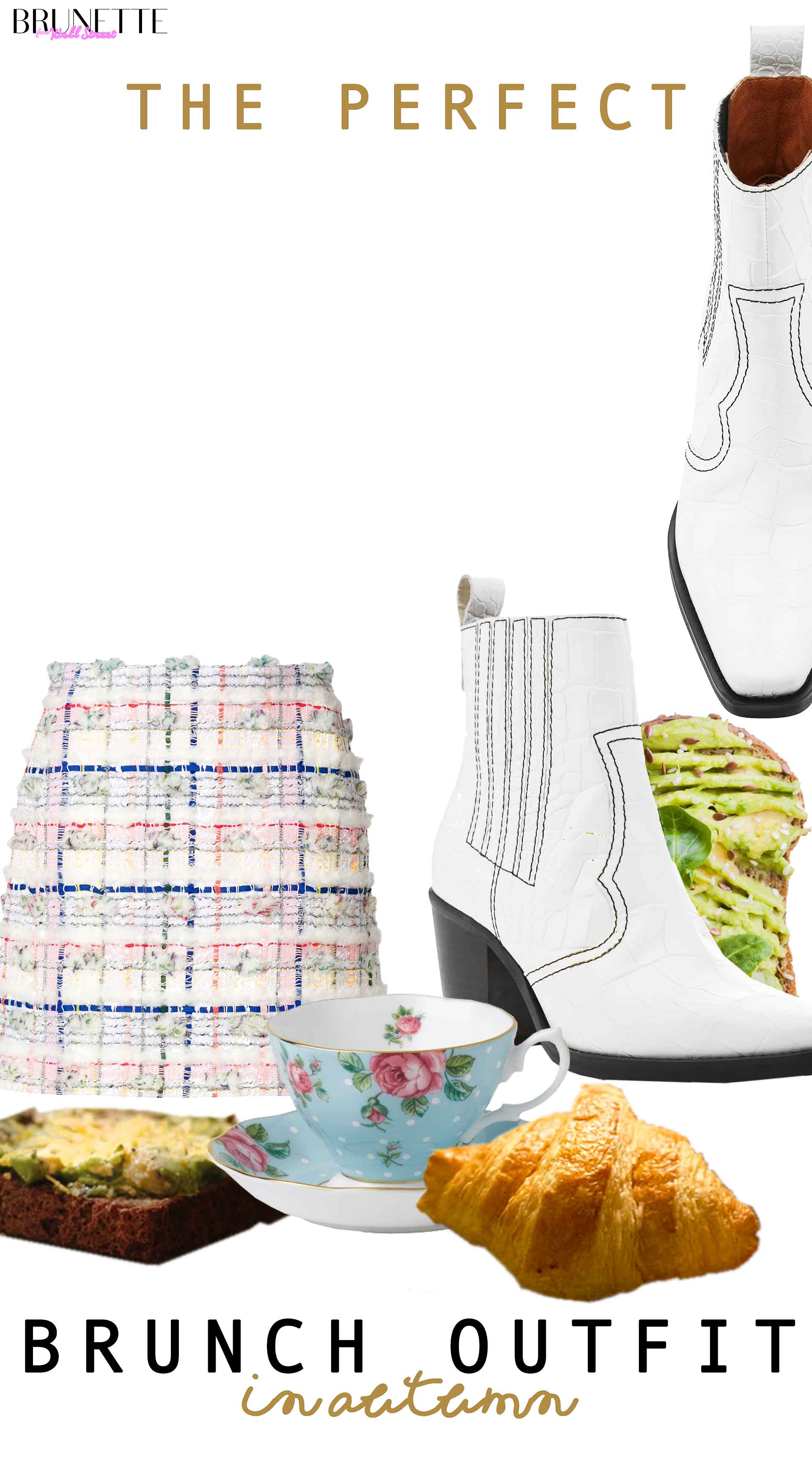 tweed mini skirt, Ganni western boots, croissant, avocado toast, tea cup with text overlay the perfect brunch outfit in autumn