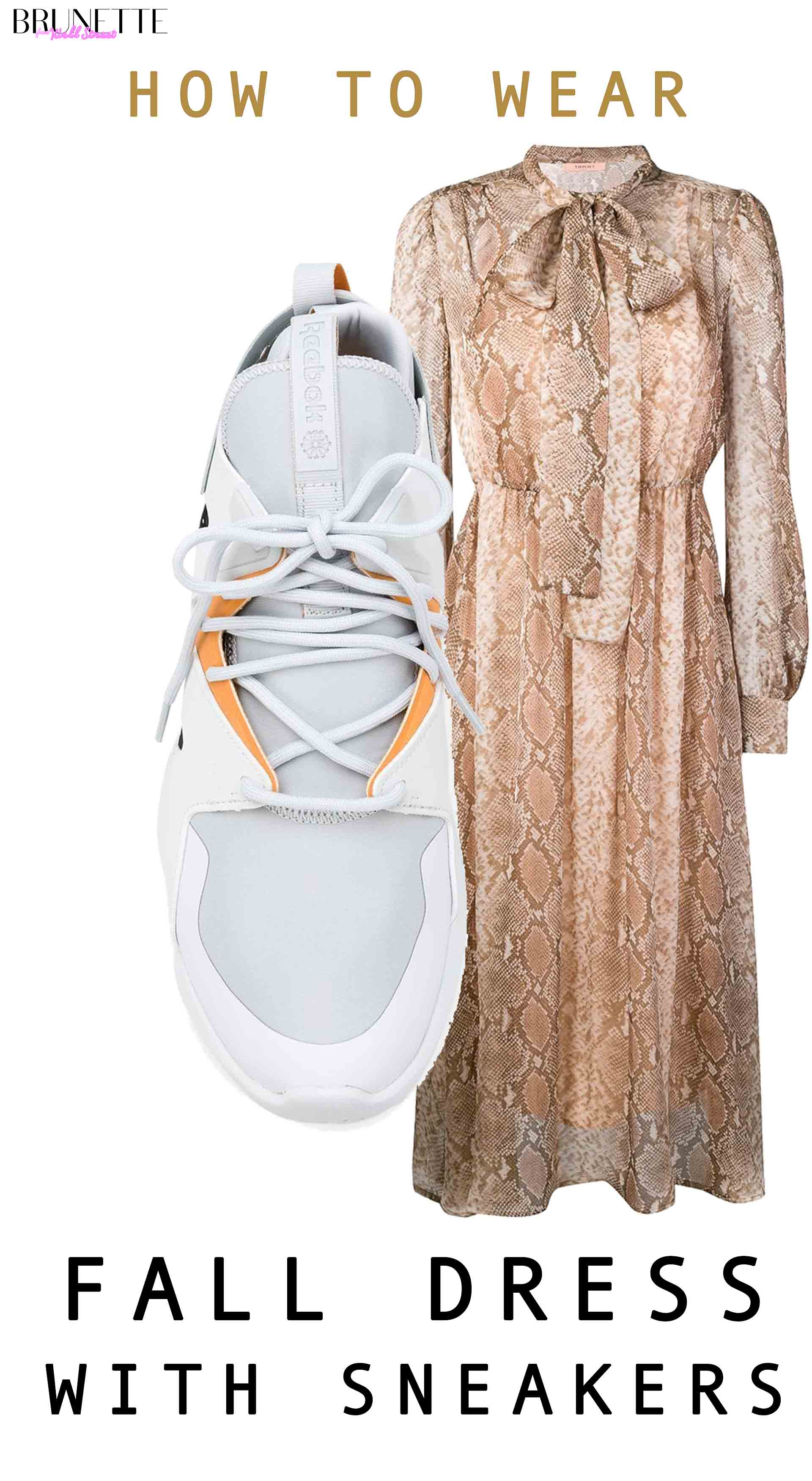 Reebok Instapump OG sneaker, Twin-Set snake printed midi dress with text overlay How to wear fall dress with chunky sneakers
