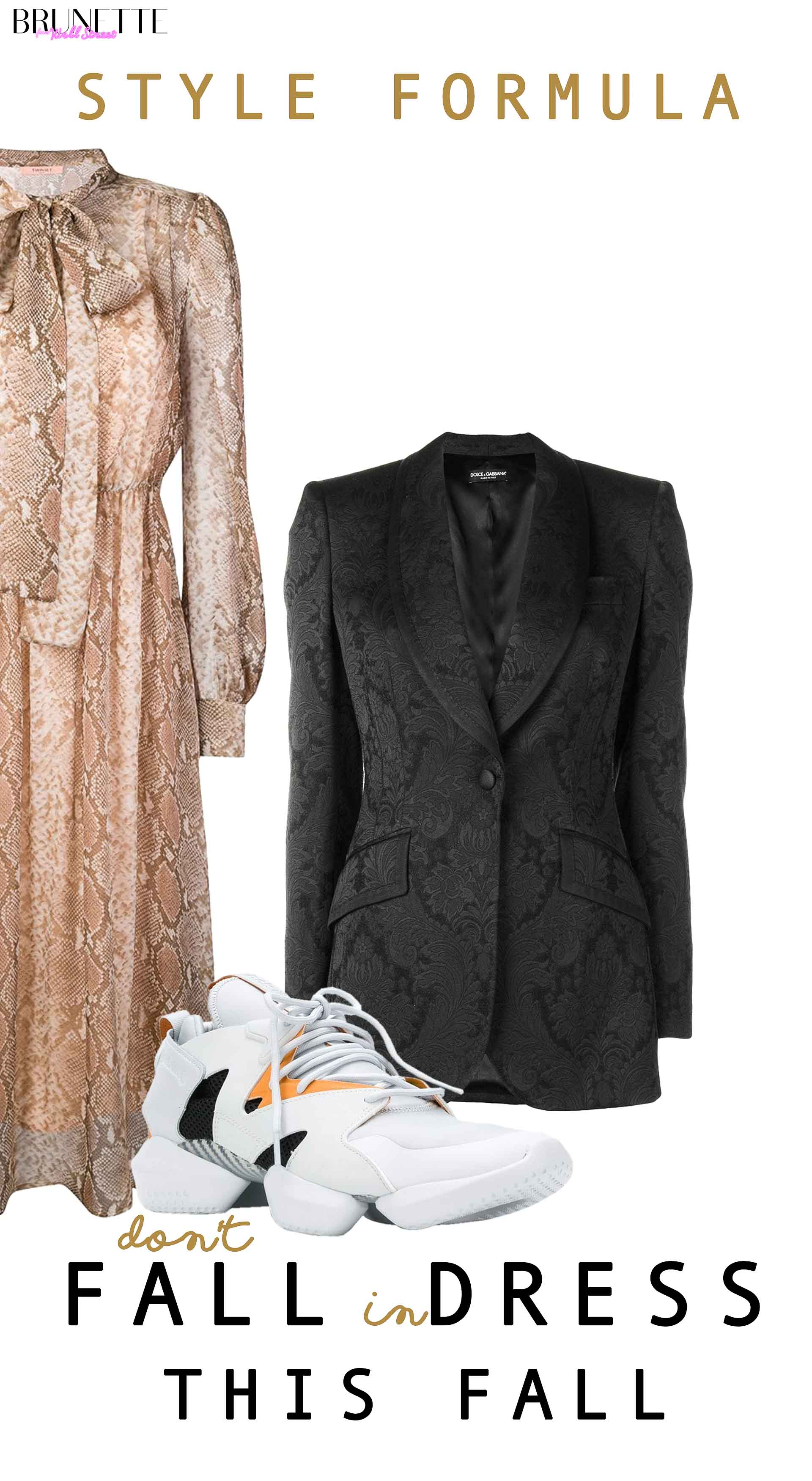 Twin-Set snake printed midi dress, Reebok Instapump sneakers, Dolce & Gabbana brocade blazer with text overlay STYLE FORMULA don't fall in dress this fall