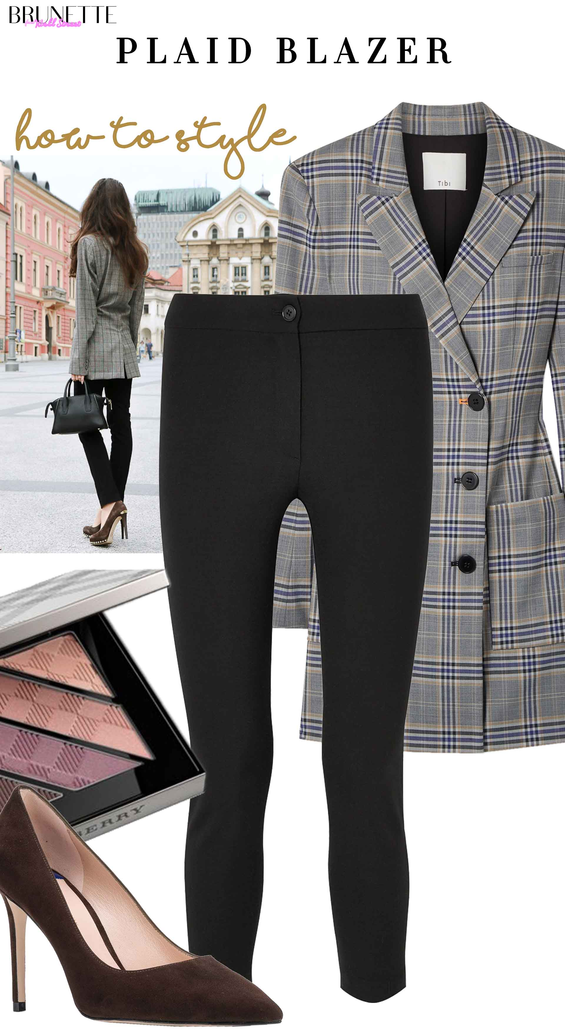 wool slim leg pants, Stuart Weitzman brown court shoes, Burberry eye shadows, double breasted plaid blazer with text overlay how to style paid blazer