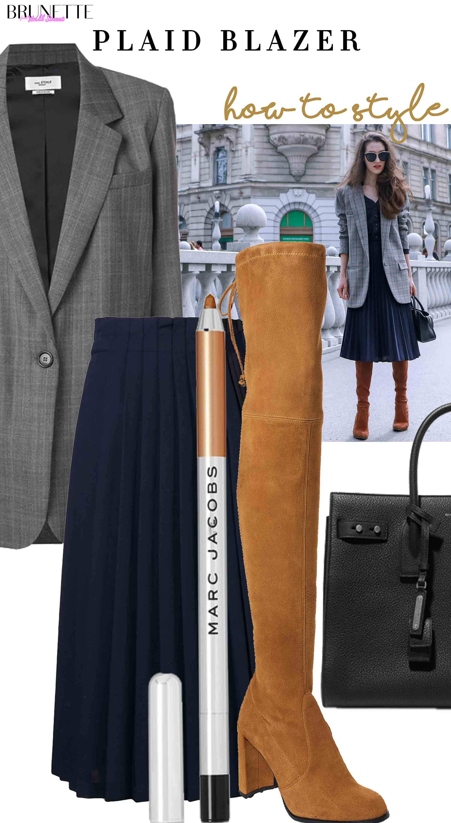 Stuart Weitzman highland over the knee boots, blue midi pleated dress, Marc Jacobs Beauty eyeliner, grey checked blazer, Saint Laurent tote bag with text overlay how to style paid blazer