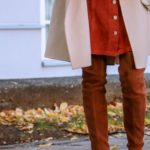 Beautiful Slovenian Fashion Blogger Veronika Lipar of Brunette from Wall dressed in front button brown suede skirt, Stuart Weitzman brown over the knee boots, Max Mara coat