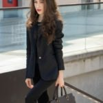 Beautiful Slovenian Fashion Blogger Veronika Lipar of Brunette from Wall wearing black pantsuit, brown Michael Kors selma top handle tote bag, Gianvito Rossi blue satin court shoes for work