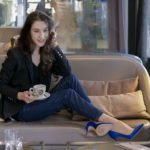 Beautiful Slovenian Fashion Blogger Veronika Lipar of Brunette from Wall Street wearing black sweatshirt, black blazer, a.p.c. jeans, gianvito rossi blue satin pumps for brunch
