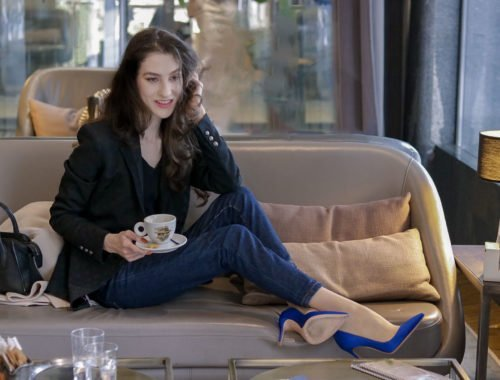 Beautiful Slovenian Fashion Blogger Veronika Lipar of Brunette from Wall Street wearing black sweatshirt, black blazer, a.p.c. jeans, gianvito rossi blue satin pumps for brunch