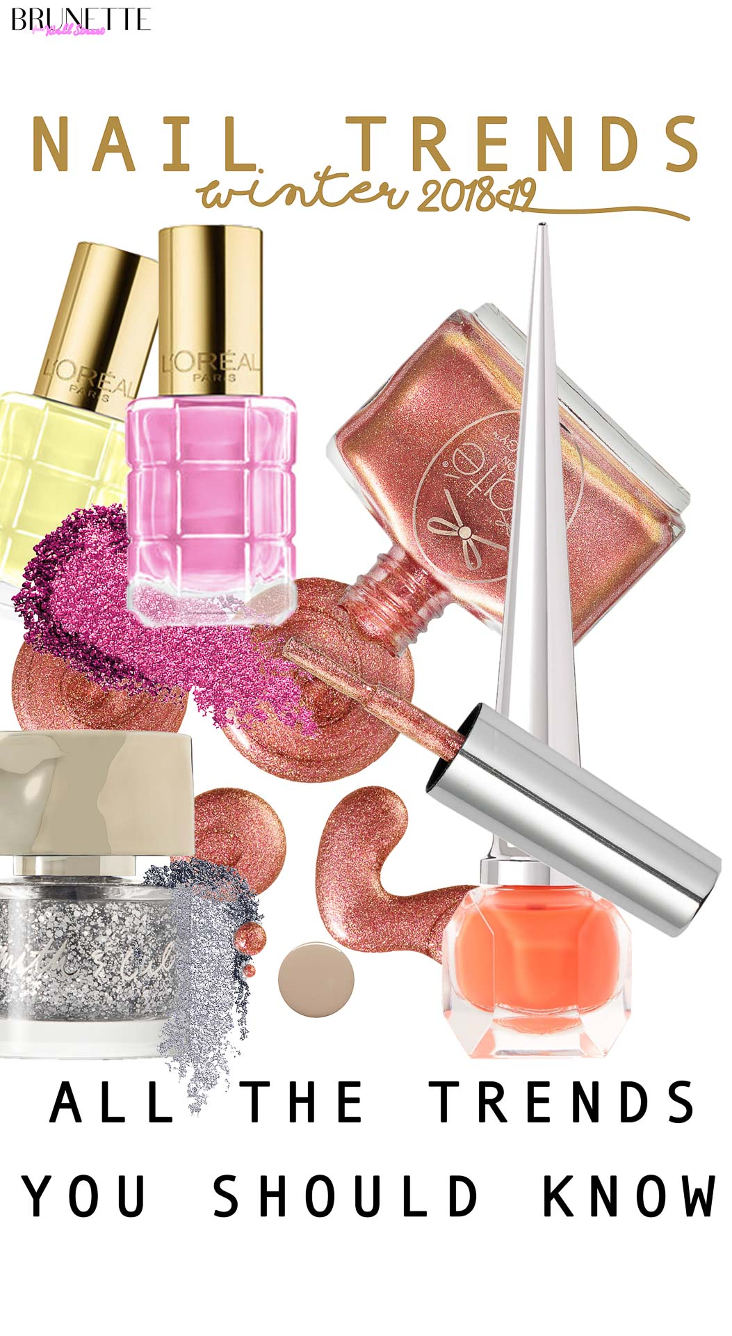 L'oreal pink nail polish, cite, marc jacobs silver polish, Louboutin orange nail polish with text overlay nail trends winter 2018-19 all the trends you should know