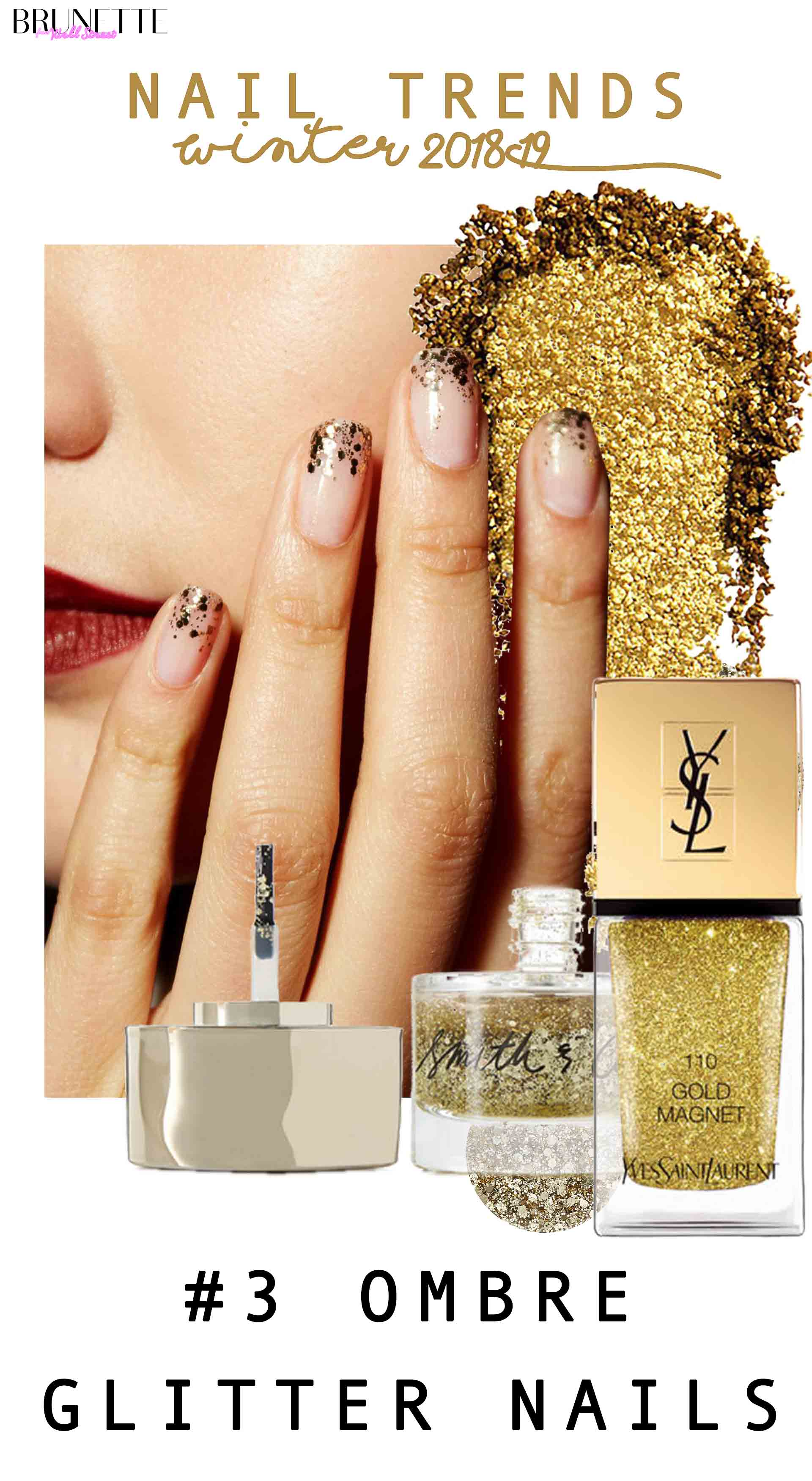 YSL gold nail polish, glitter, glitter tips with text overlay nail trends winter 2018 #3 ombre glitter nails