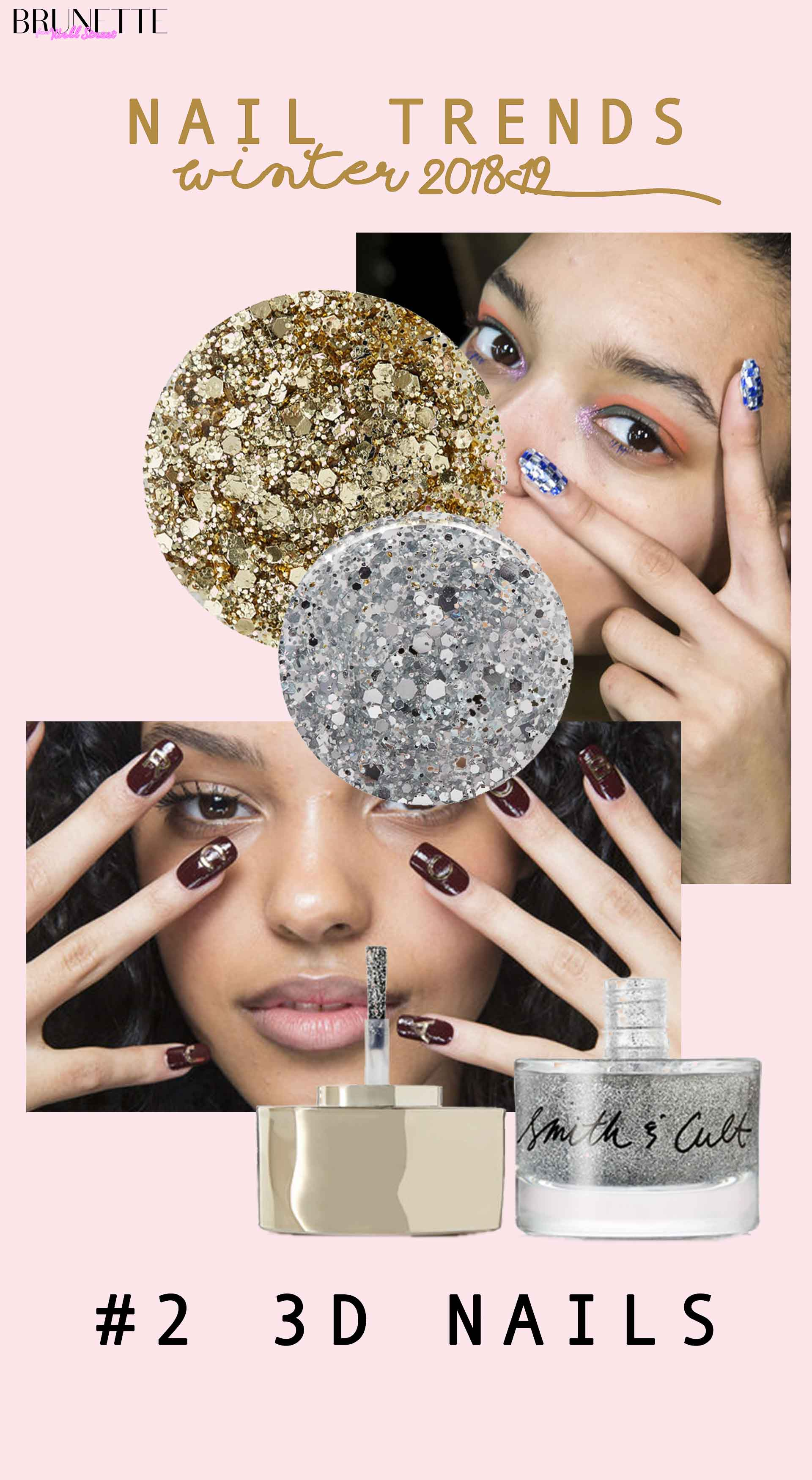glitter nail polish, graphic nail design with text overlay nail trends winter 2019 #2 3D nails