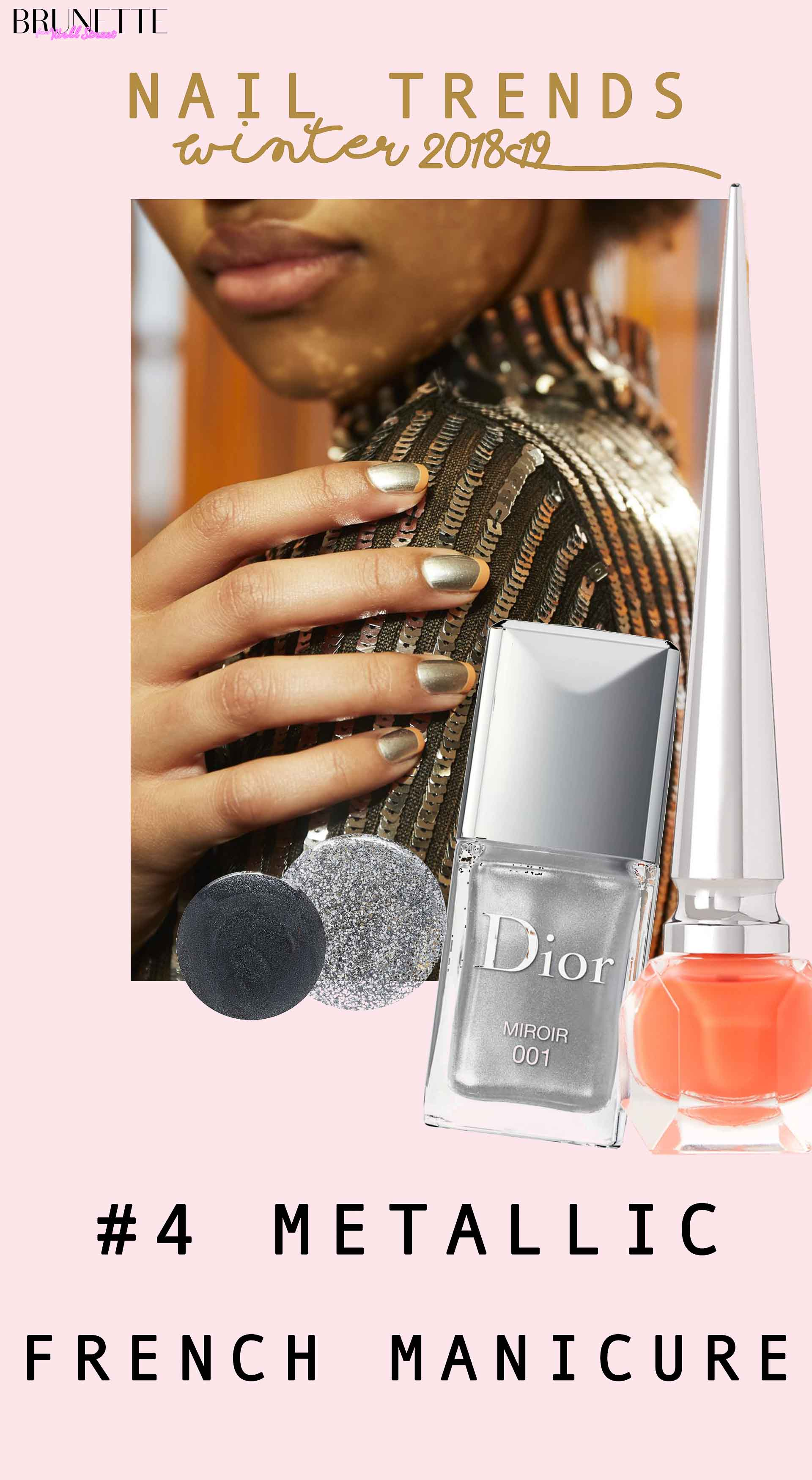 silver Dior nail polish with text overlay nail trends winter 2018 #4 metallic french manicure