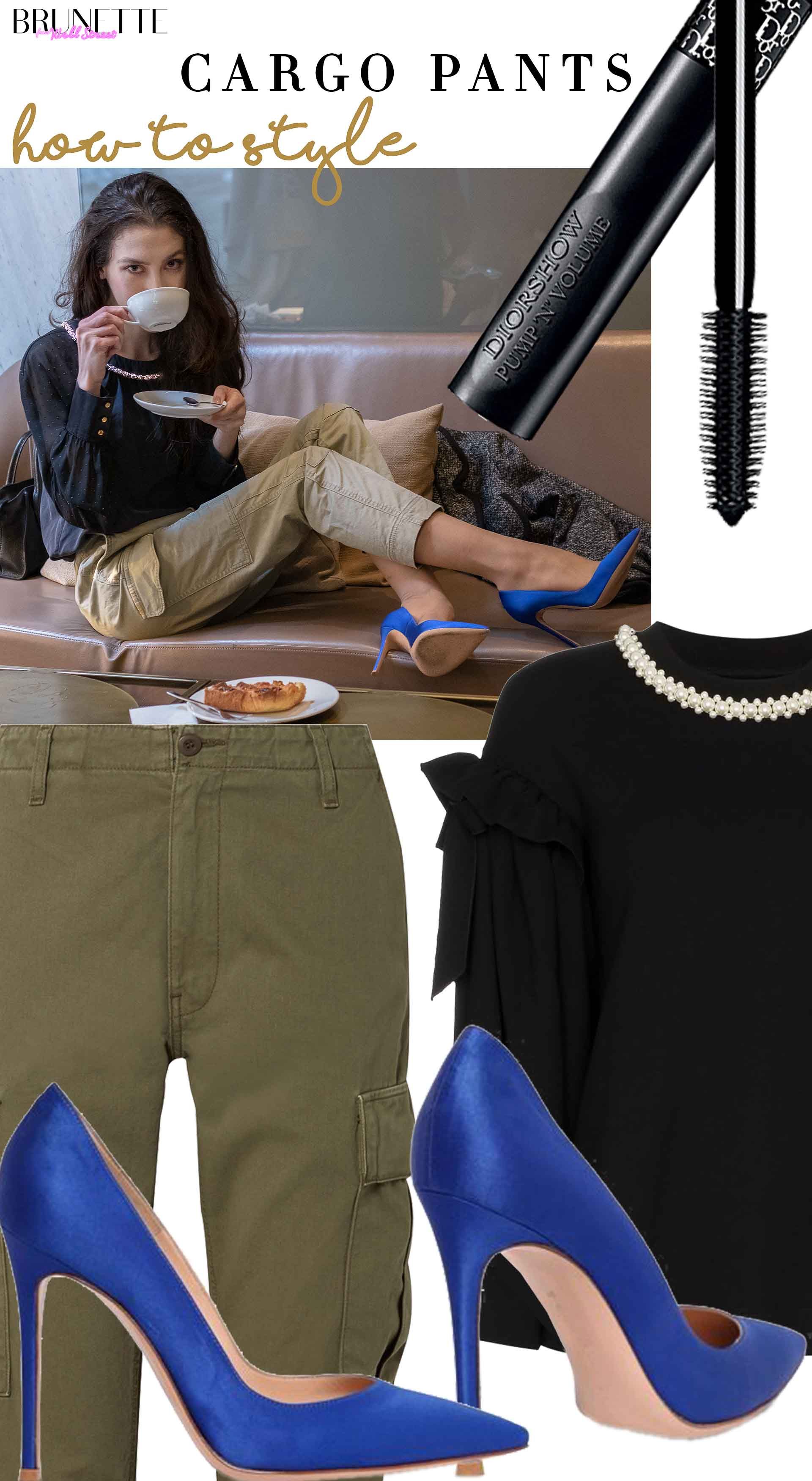 chic winter brunch date outfit cargo pants with blue pumps black blouse dior mascara