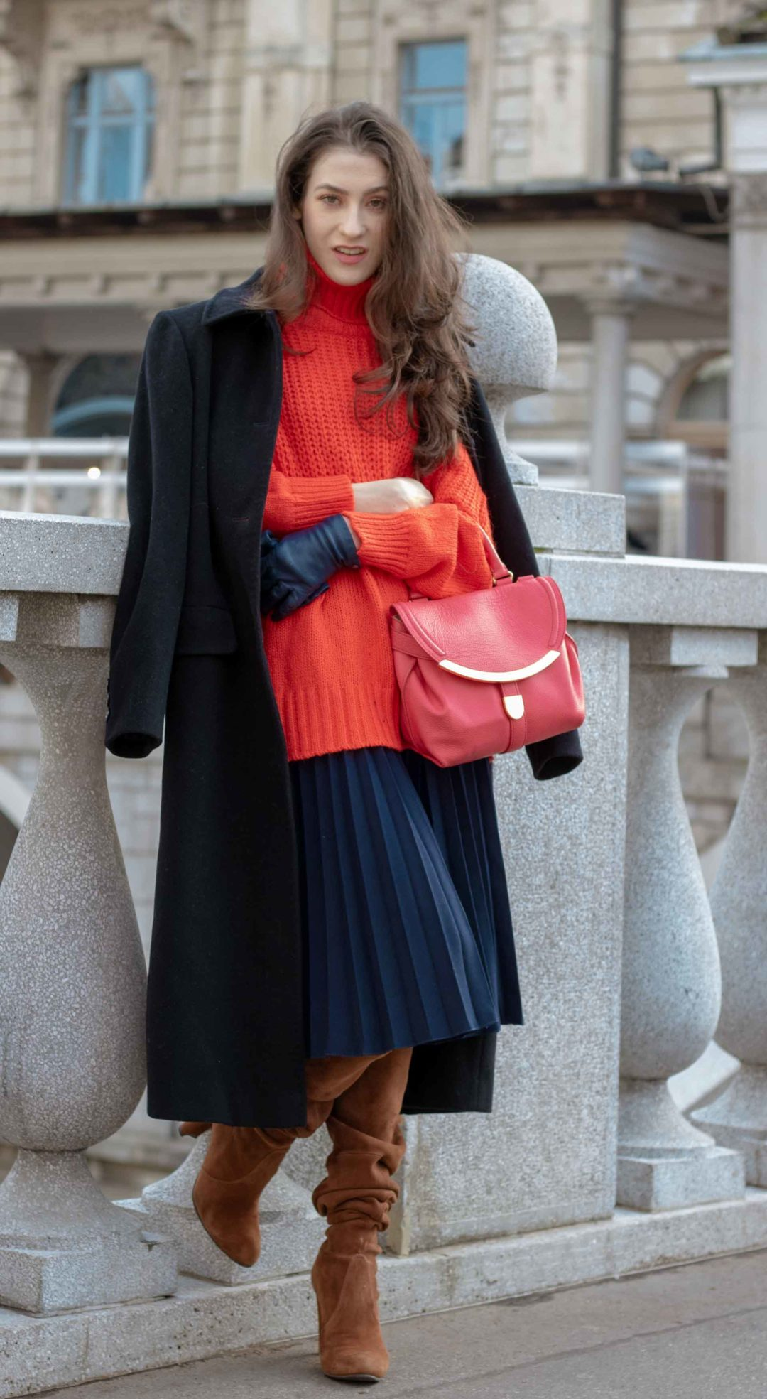 2a3c55b1a509 Beautiful Slovenian Fashion Blogger Veronika Lipar of Brunette from Wall  Street wearing red oversize contrasting sweater