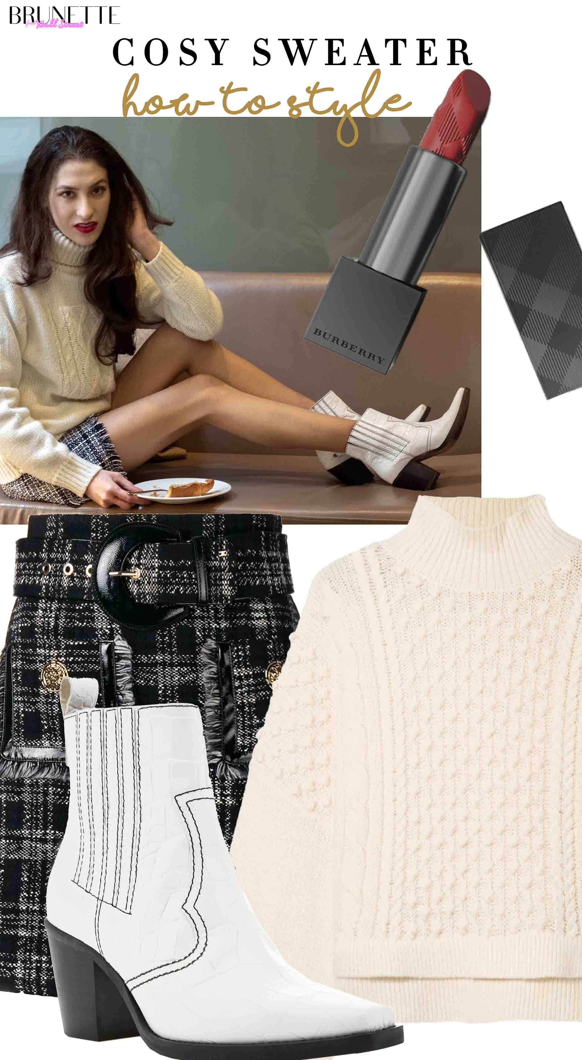 Brunette from Wall Street how to style cosy sweater trurleneck anc cowboy boots for holidays