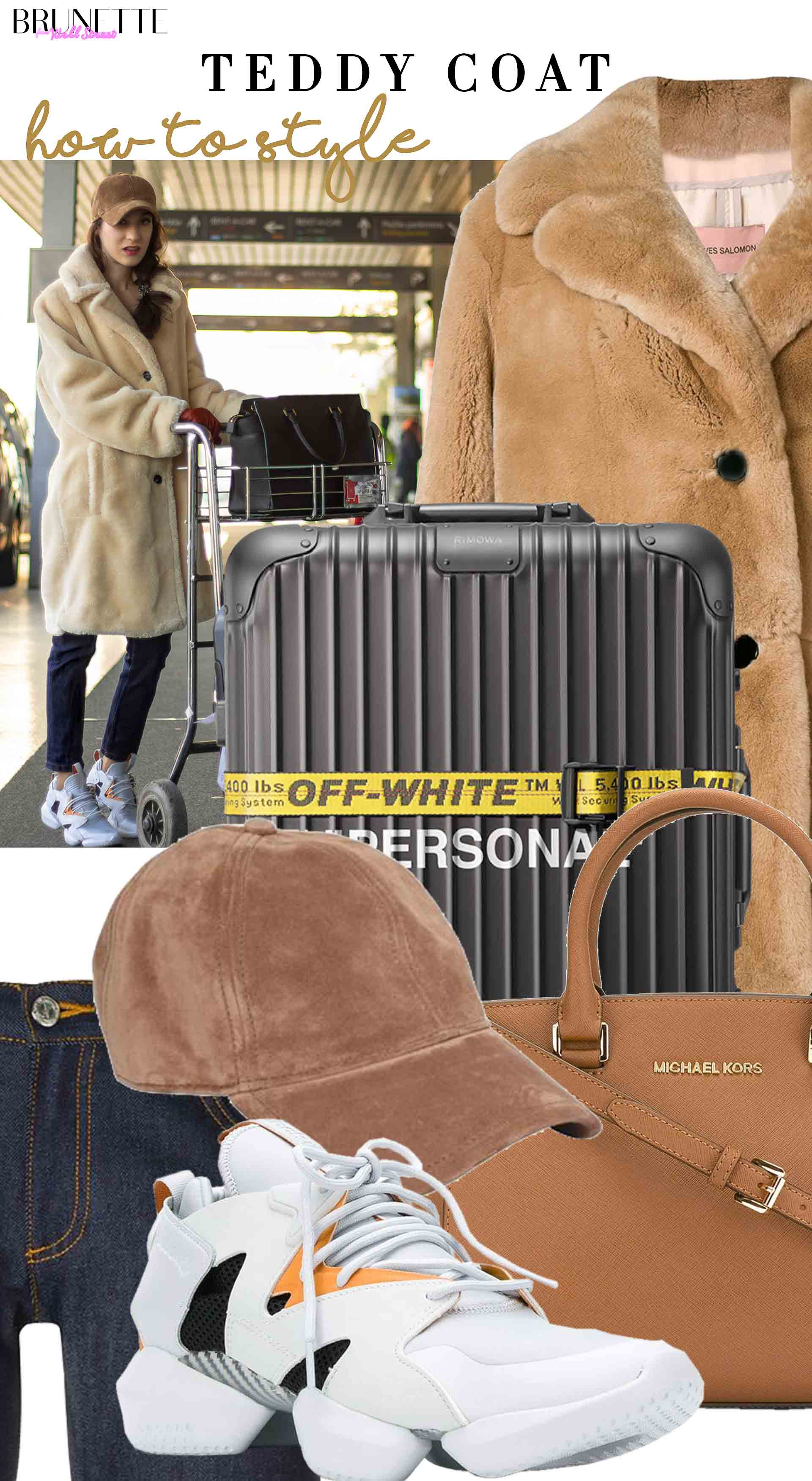 how to style teddy coat rimowa off-white suitcase for the flight home this christmas