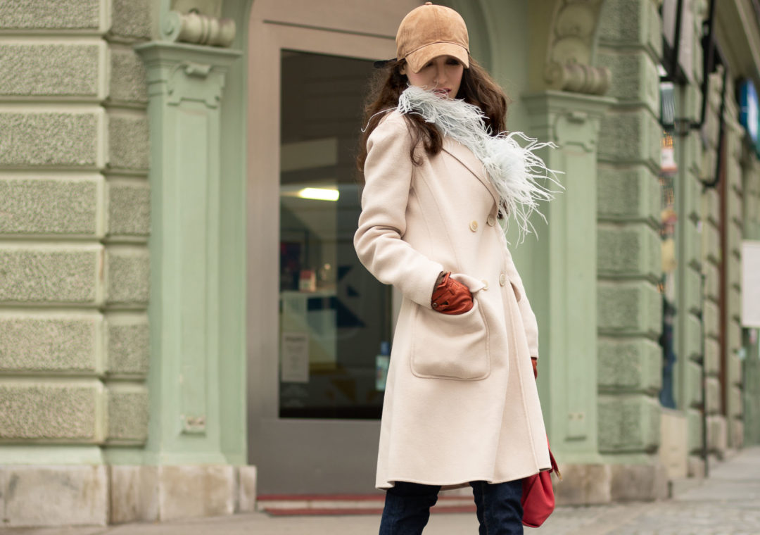 Must follow fashion blogger Veronika Lipar of Brunette from Wall Street dressed in brown Rag and Bone baseball cap, blue feather scarf, Weekend Max Mara double breasted wool coat, A.P.C. regular denim jeans, See by Chloé hiking boots, pink top handle bag every day