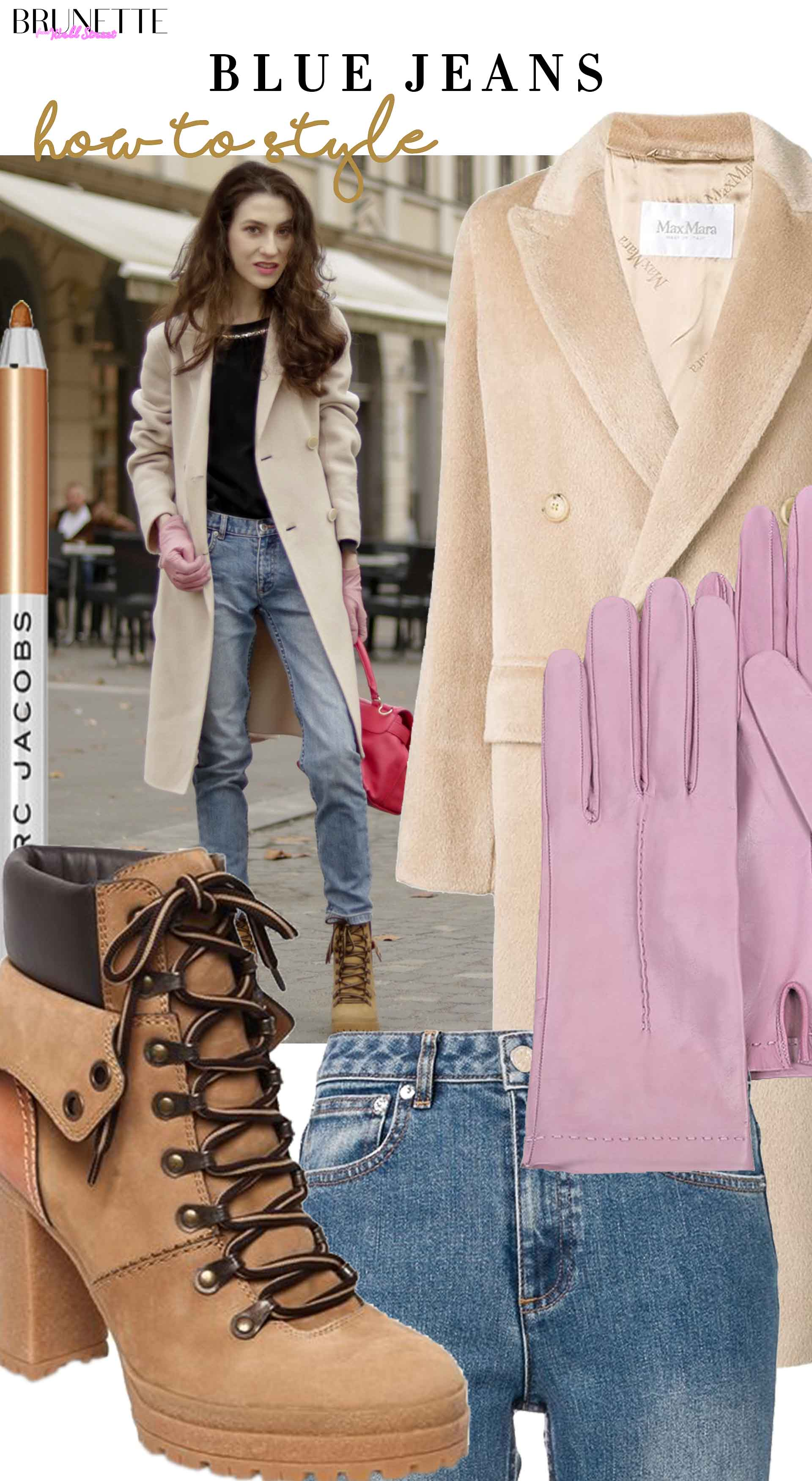 Fashion Blogger Veronika Lipar of Brunette from Wall Street sharing how to wear light blue jeans in winter 2019