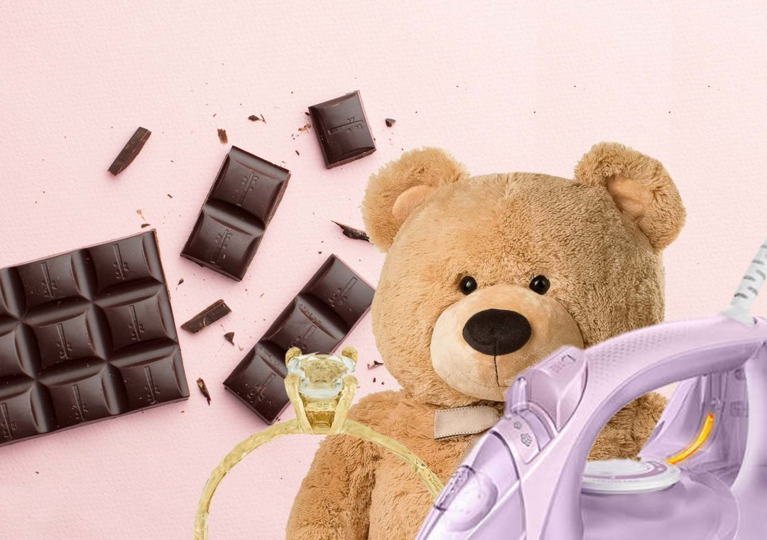 chocolate bar, engagement ring, teddy bear, violet iron worst Valentine's gifts