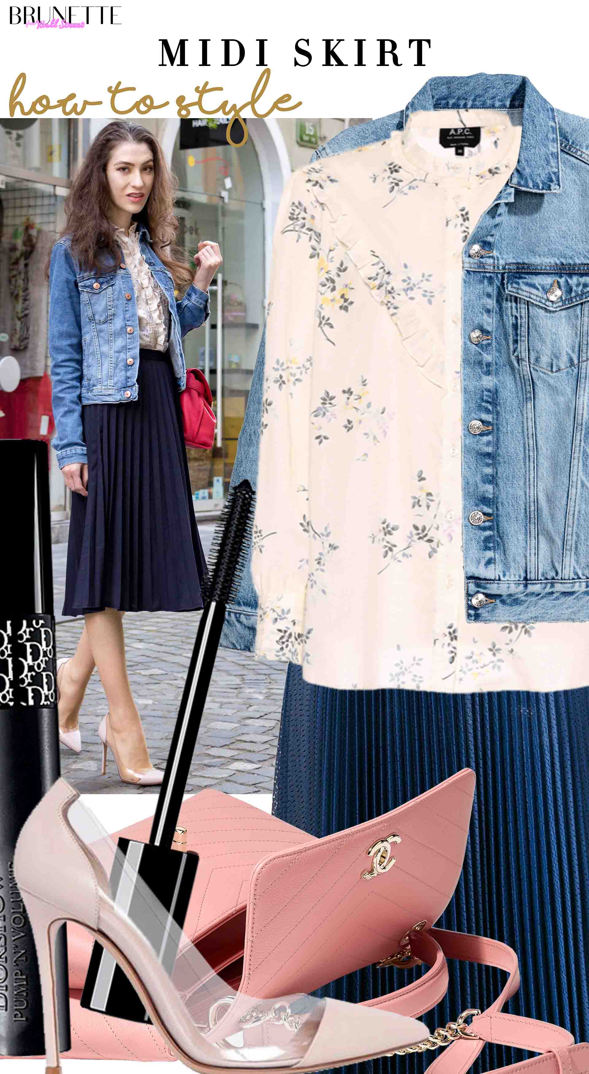 Brunette from Wall Street how to style midi skirt denim jacket plexi pumps