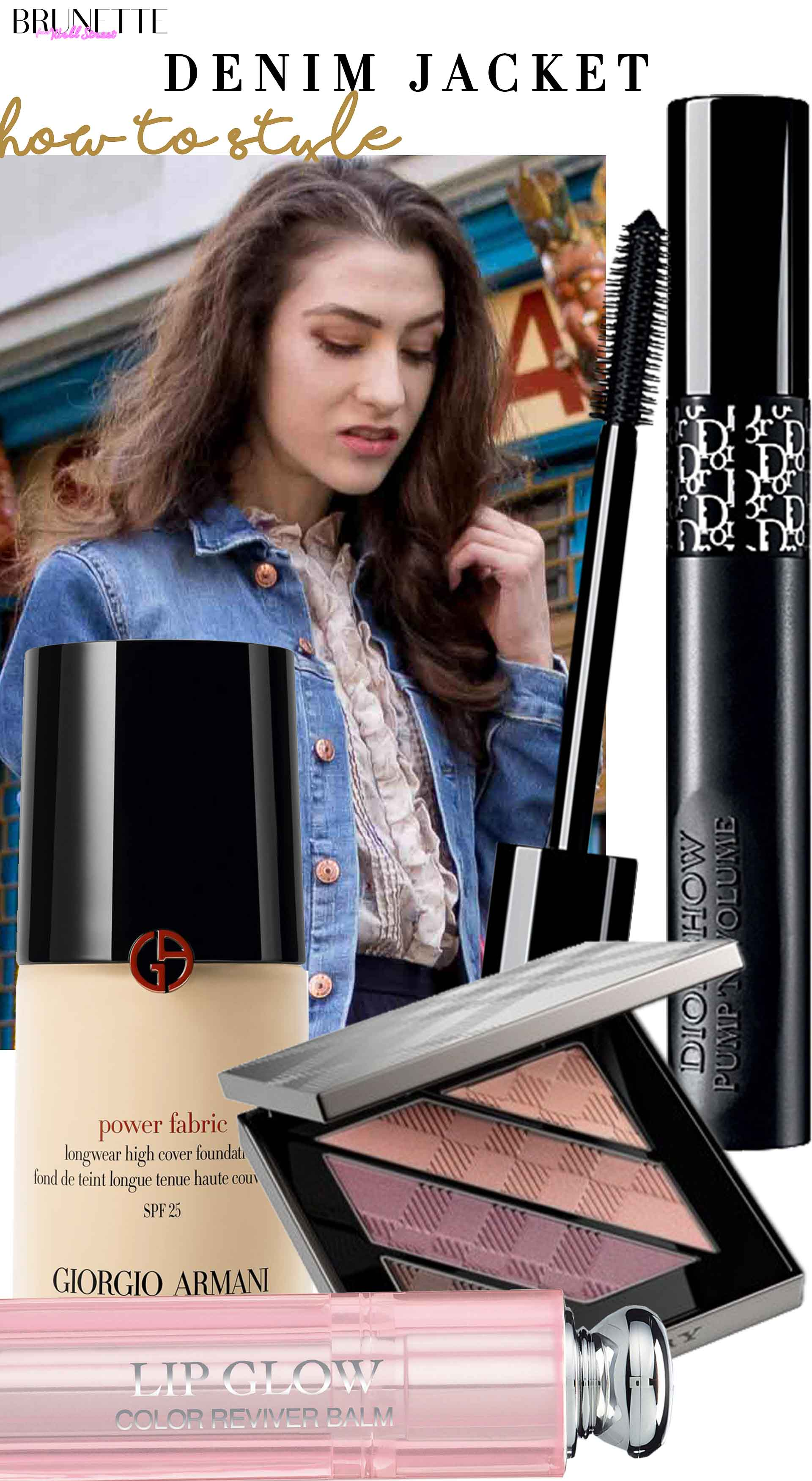 Brunette from Wall Street makeup to wear with denim jacket