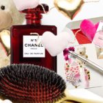 N°5 limited edition Chanel, Balmain hair Couture gold spa brush, Valentine's card, hearts, teddy bear