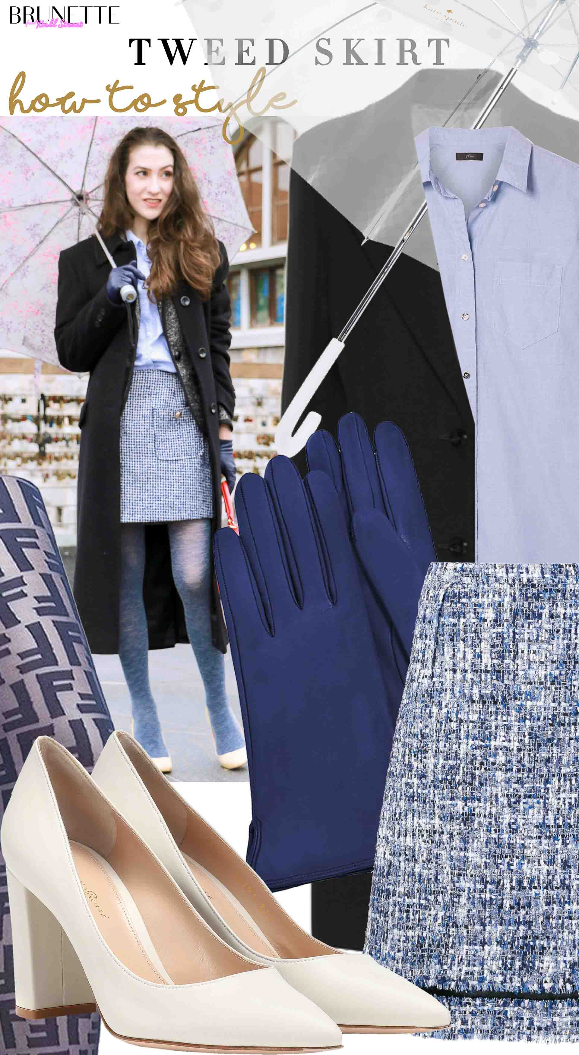how to style blue tweed skirt with blue tights white shoes
