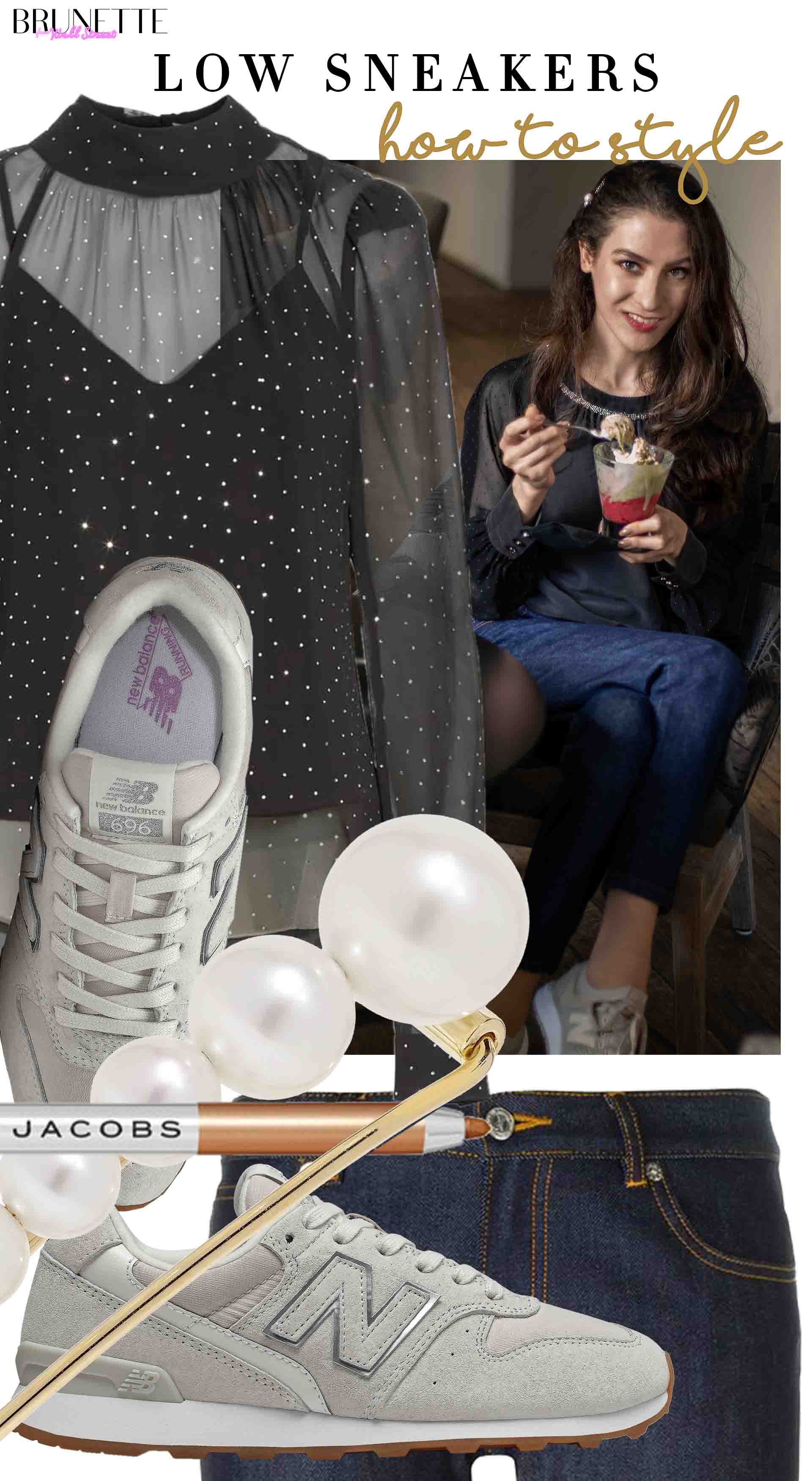 Brunette from Wall Street how to style low sneakers for spring Mother's Day brunch