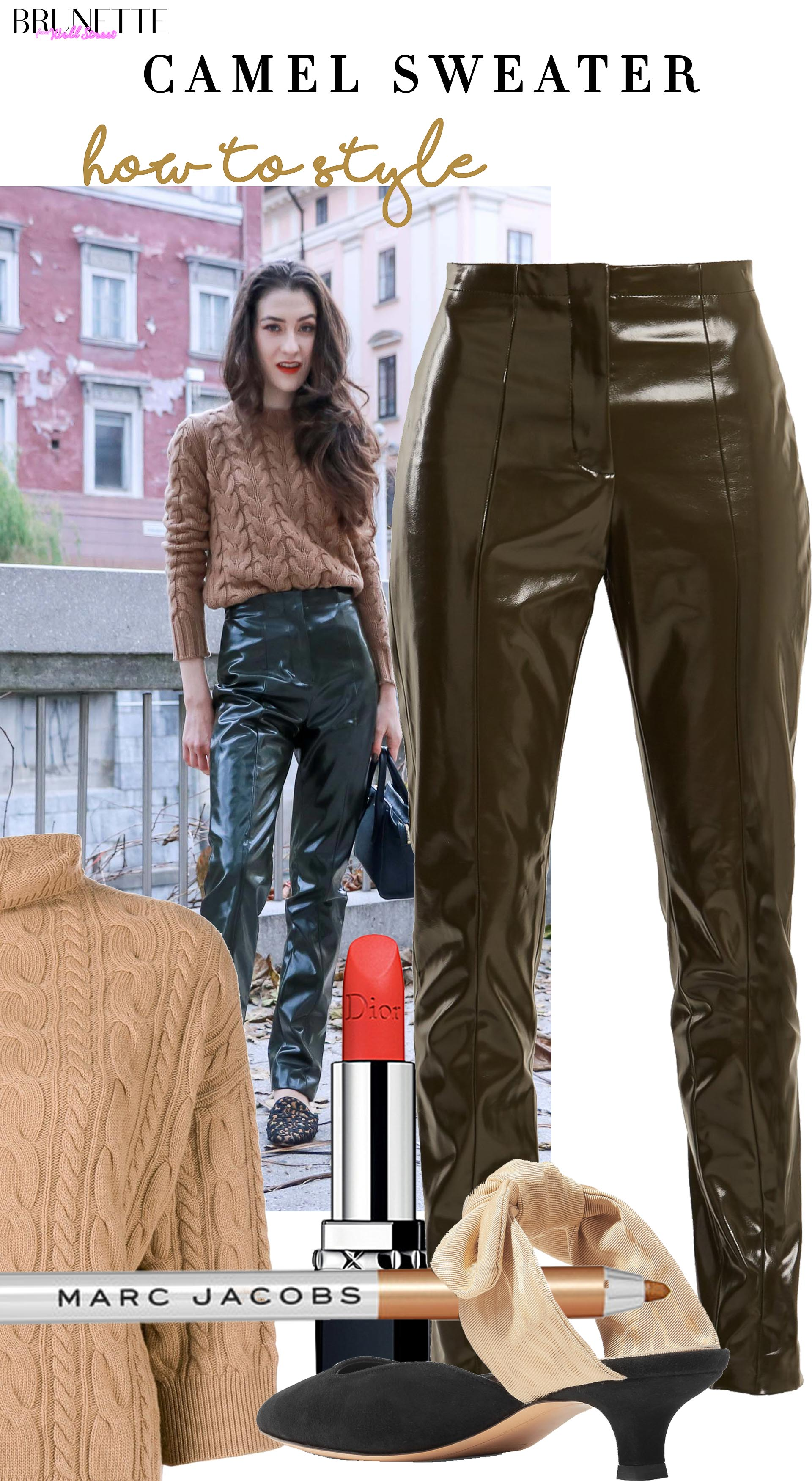 Brunette from Wall Street how to dress up acne studios vinyl pants max mara camel sweater for work