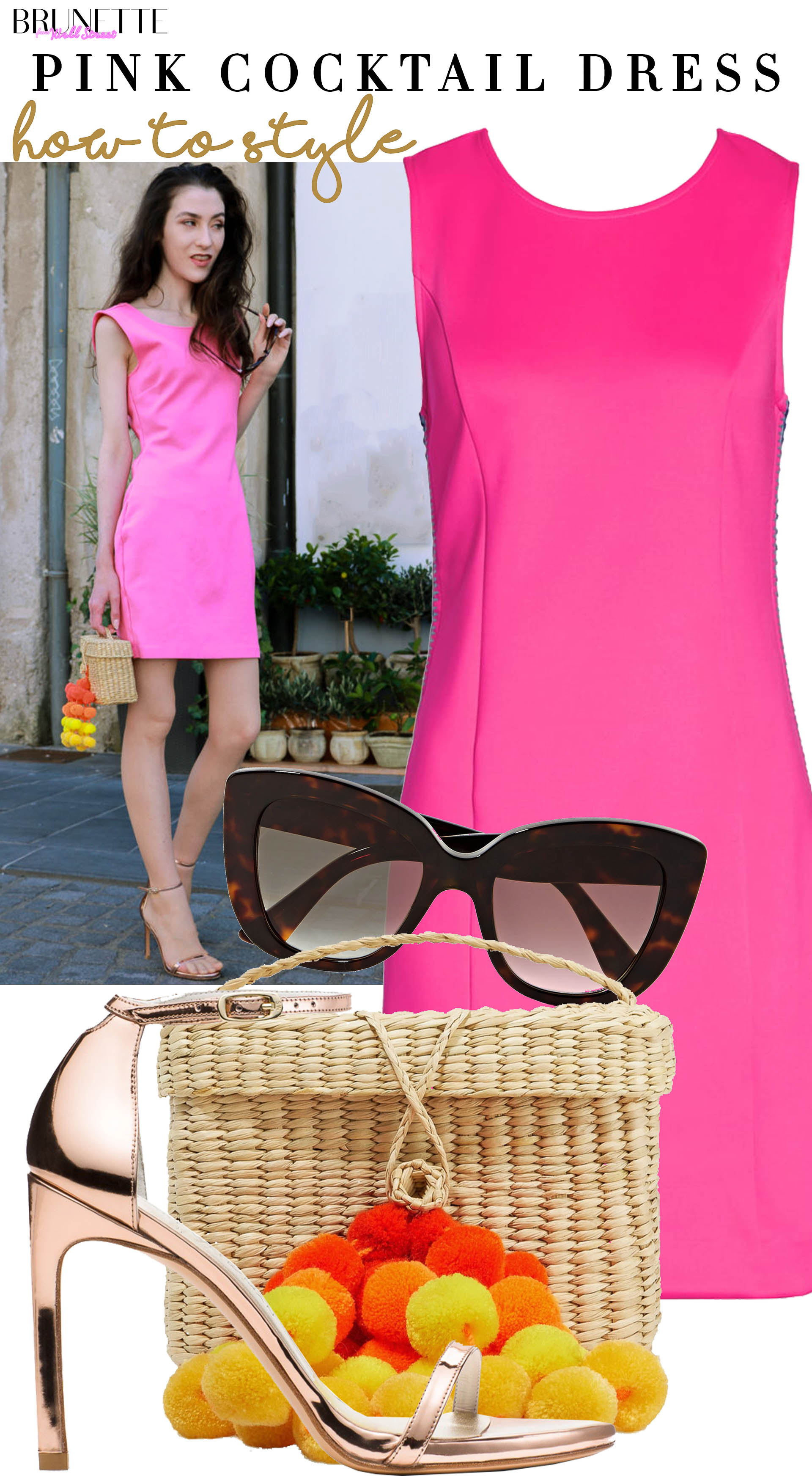Brunette from Wall Street how to style Barbie pink bodycon dress Stuart Weitzman nudist sing sandals Nannacay bag Gucci sunglasses for date with boyfriend in summer