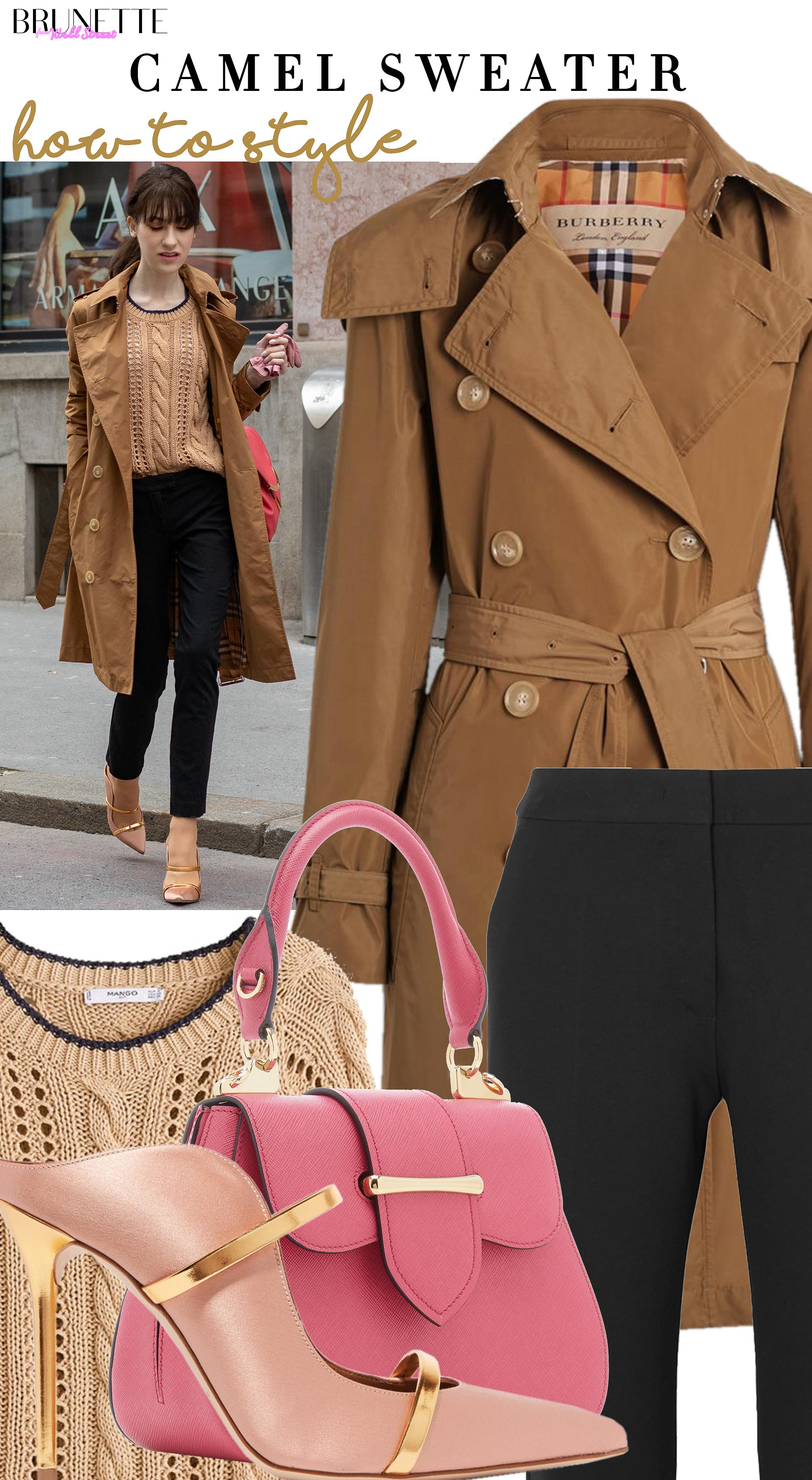 Brunette from Wall Street how to style camel sweater Burberry trench coat prada bag malone souliers mules black pants for work