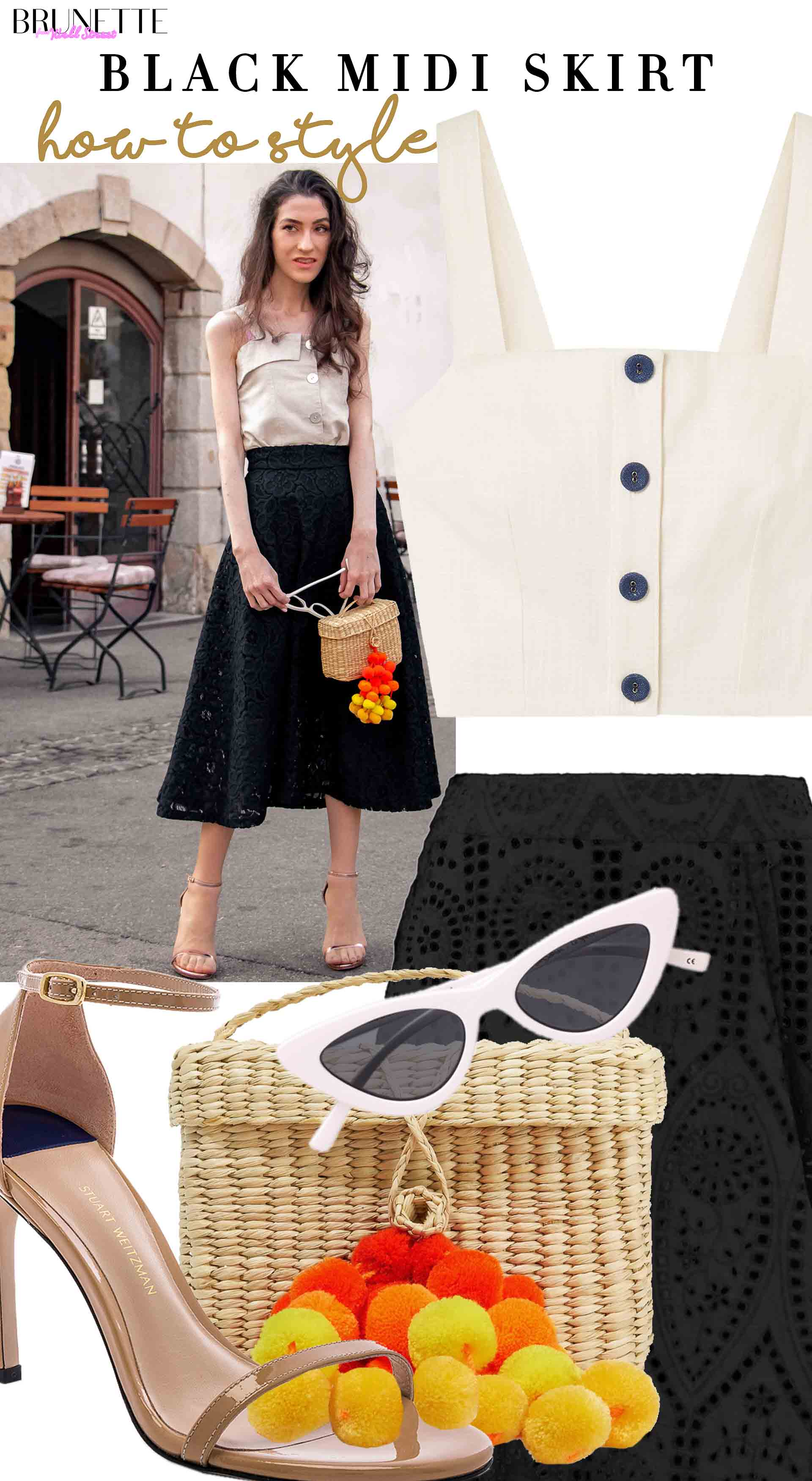 Brunette from Wall Street how to style linen button front crop top lace midi skirt nannacay basket bag nudistsong sandals cateye sunglasses for countryside summer wedding
