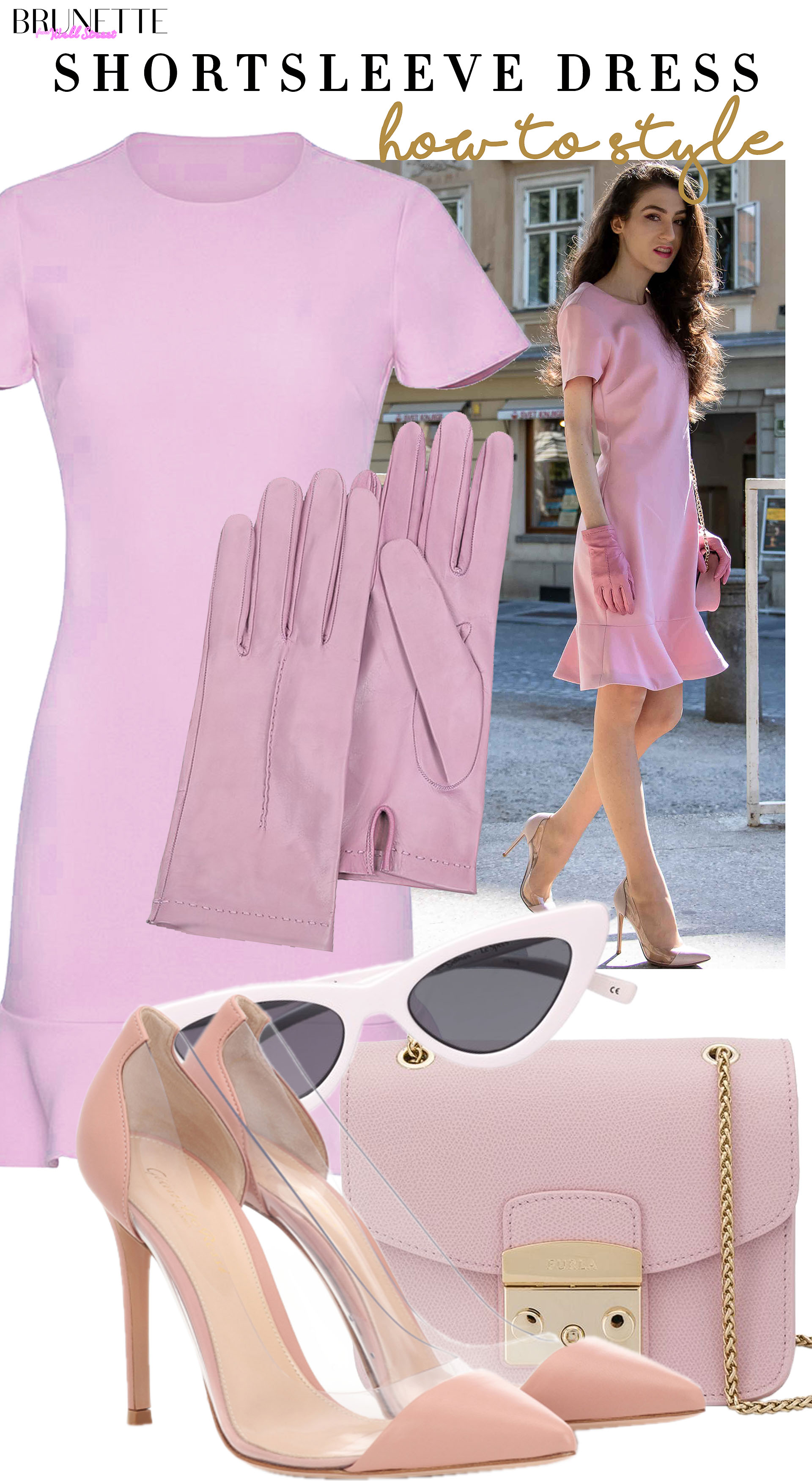 Brunette from Wall Street how to style pstel pink short sleeve cocktail dress Furla metropolis bag Gianvito Rossi plexi pumps leather gloves for summer wedding