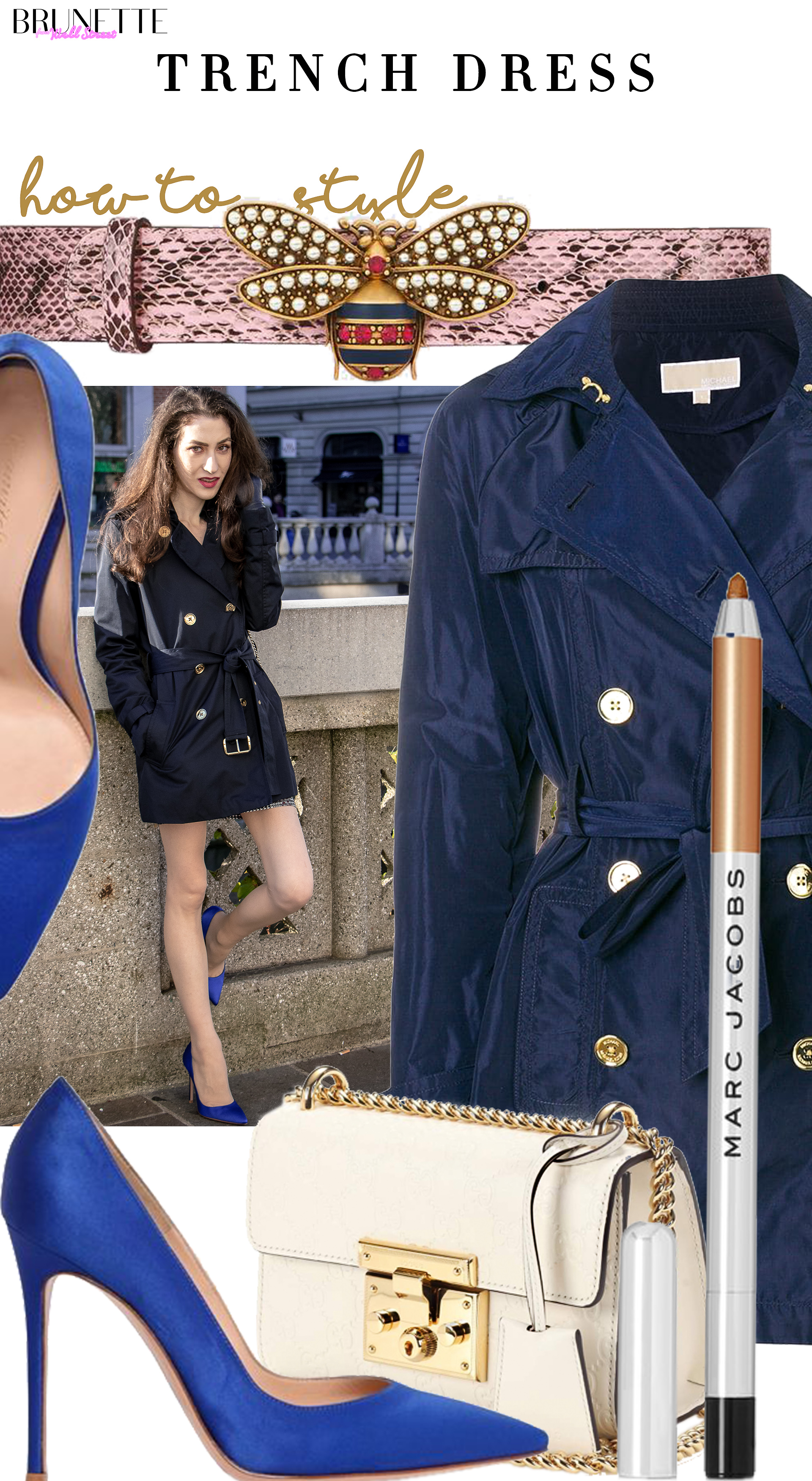 Brunette from Wall Street how to style trench dress for wedding