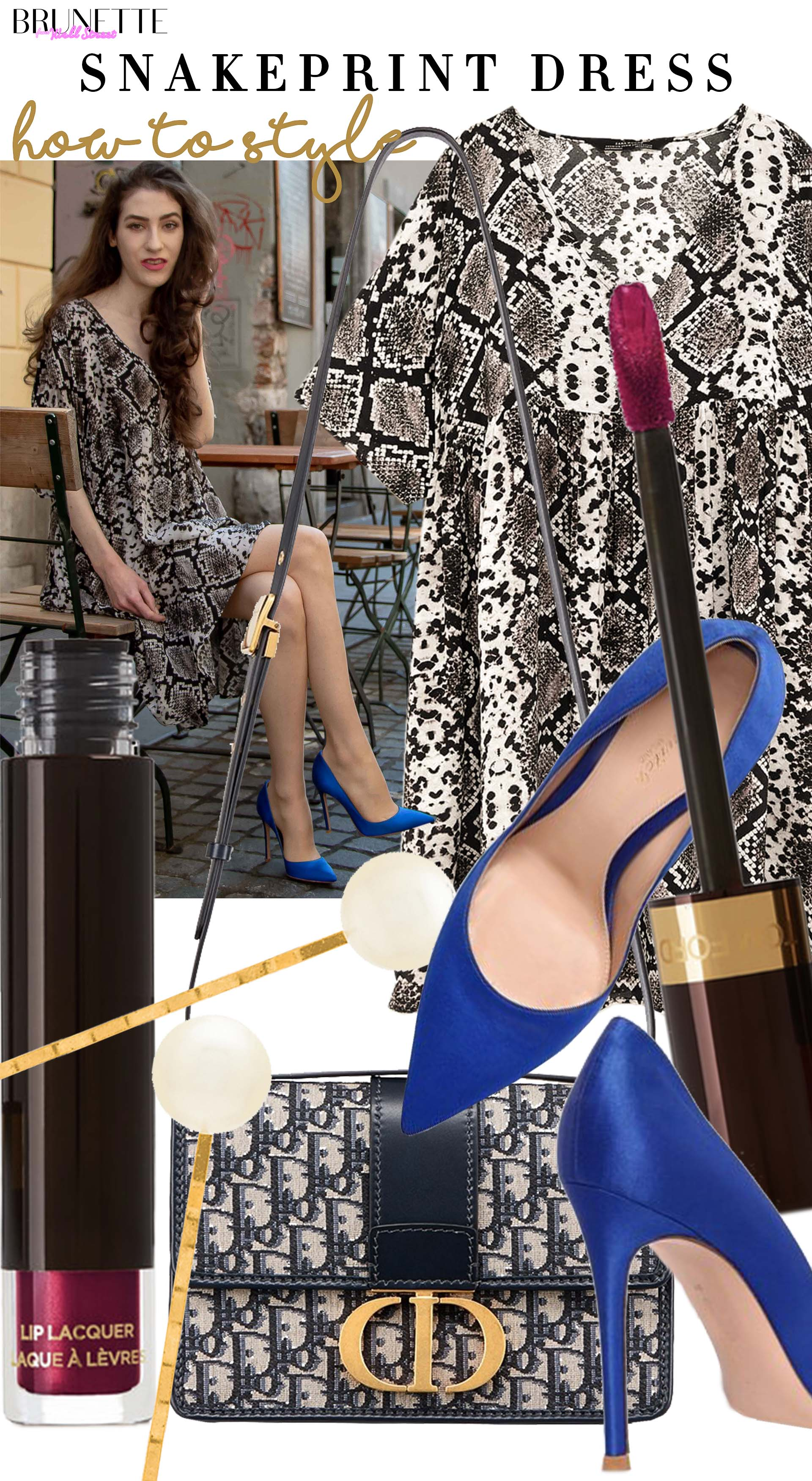 Brunette from Wall Street brunch outfit snakeskin print dress dior montaigne 30 bag gianvito rossi blue pumps jennifer behr pearl hair pin