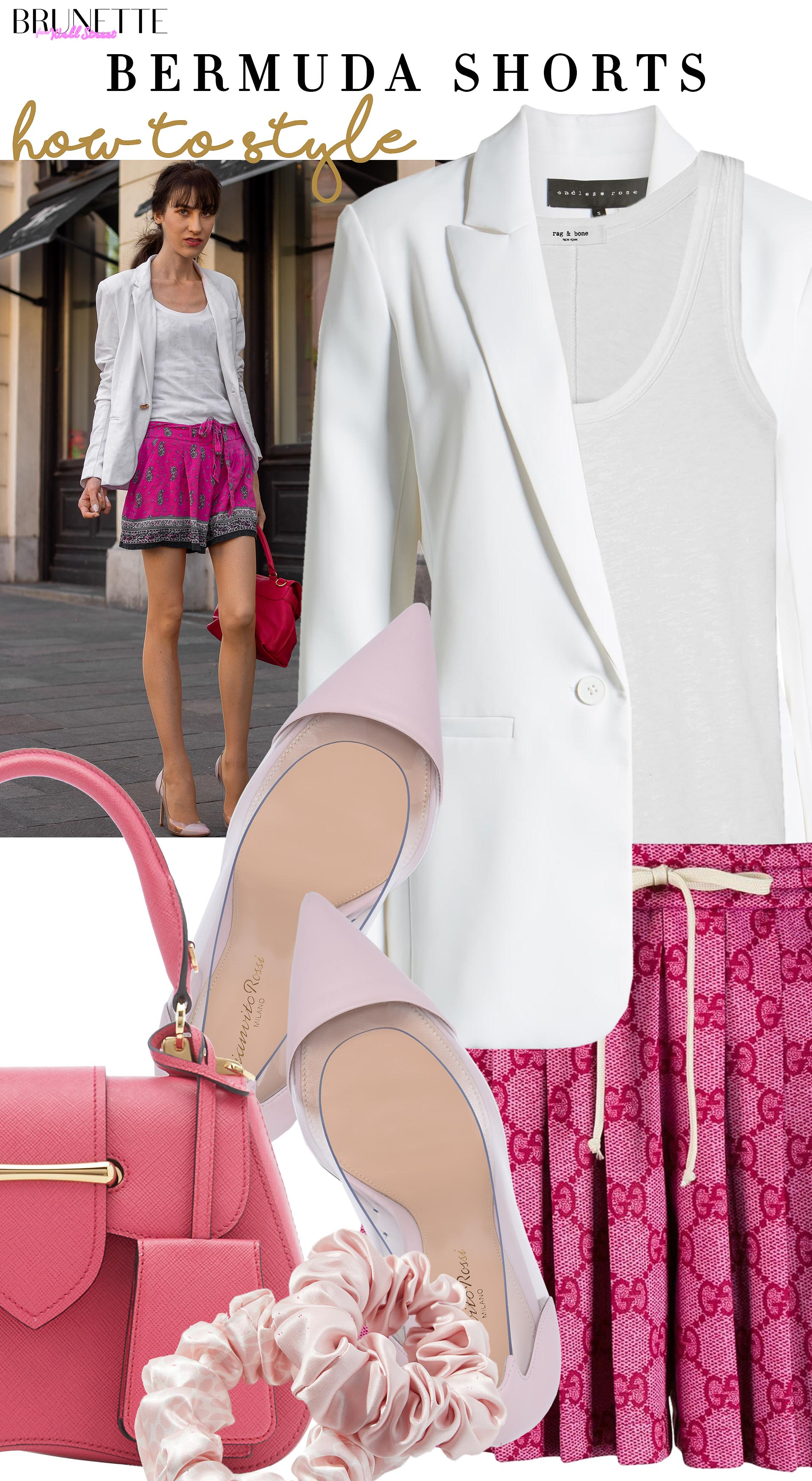 Brunette from Wall Street how to style bermuda shorts scrunchie white blazer prada bag plexi pumps for brunch date with girl friends