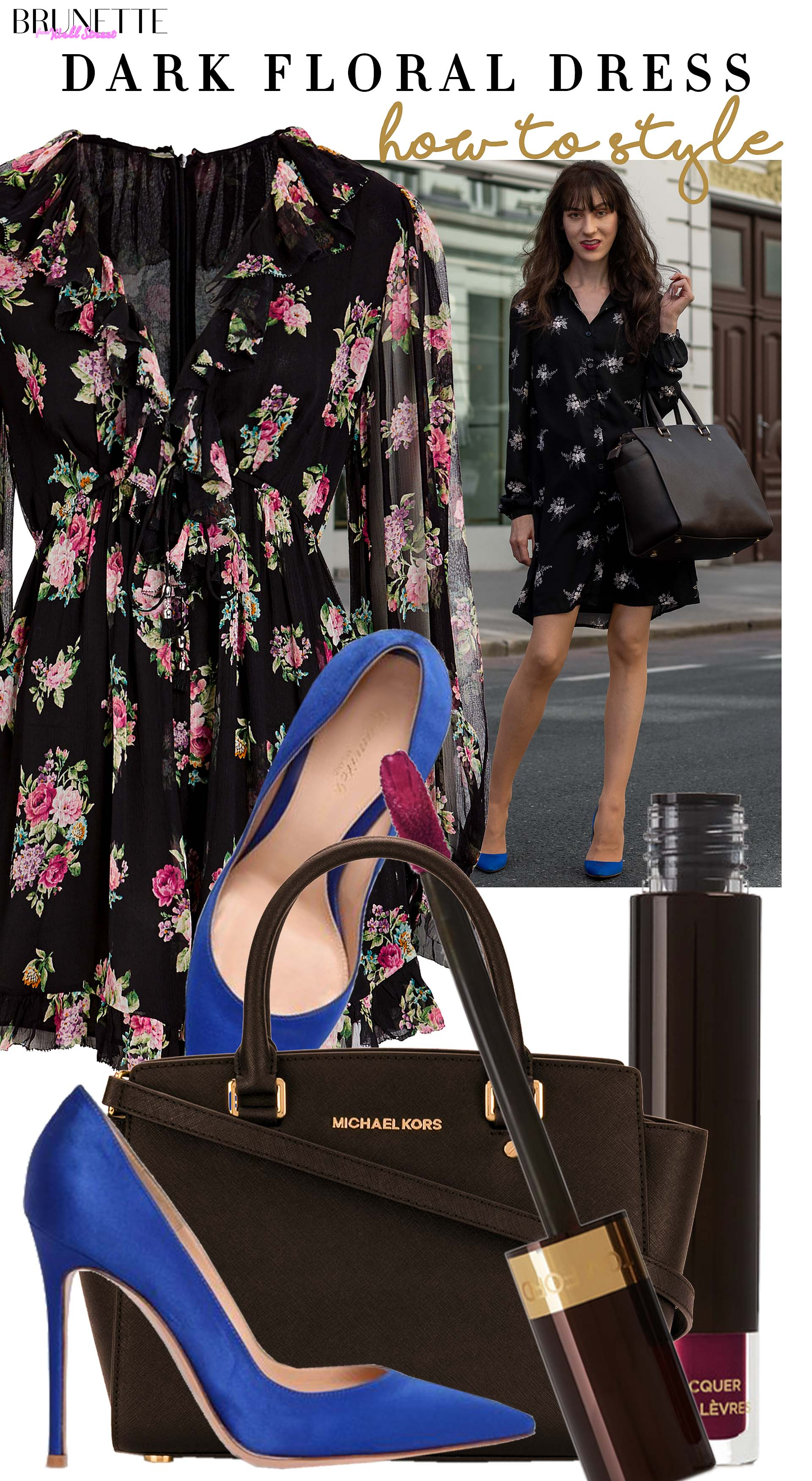 Brunette from Wall Street how to style dark floral summer dress for work