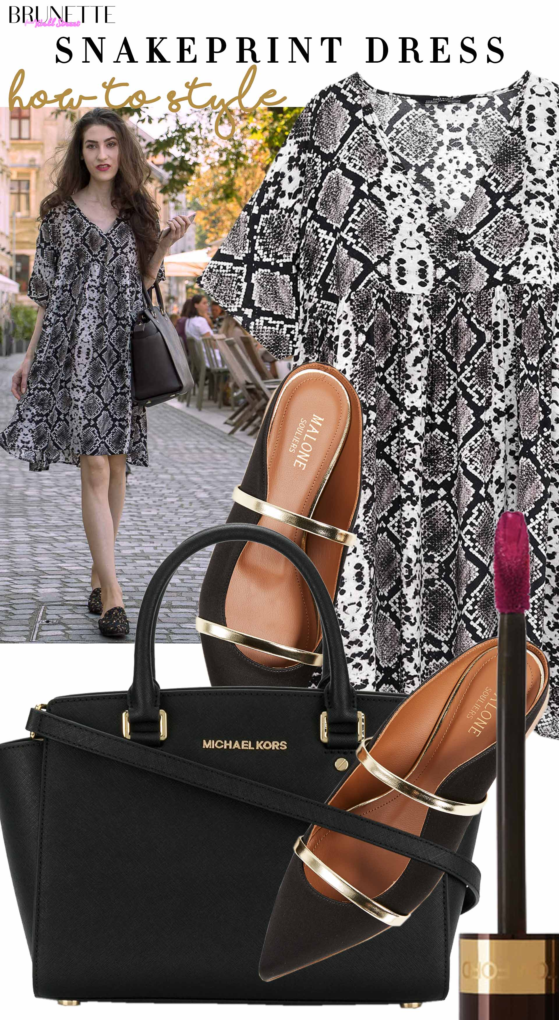 Brunette from Wall Street how to style short boho snakeskin print dress malone souliers mules michael kors bag
