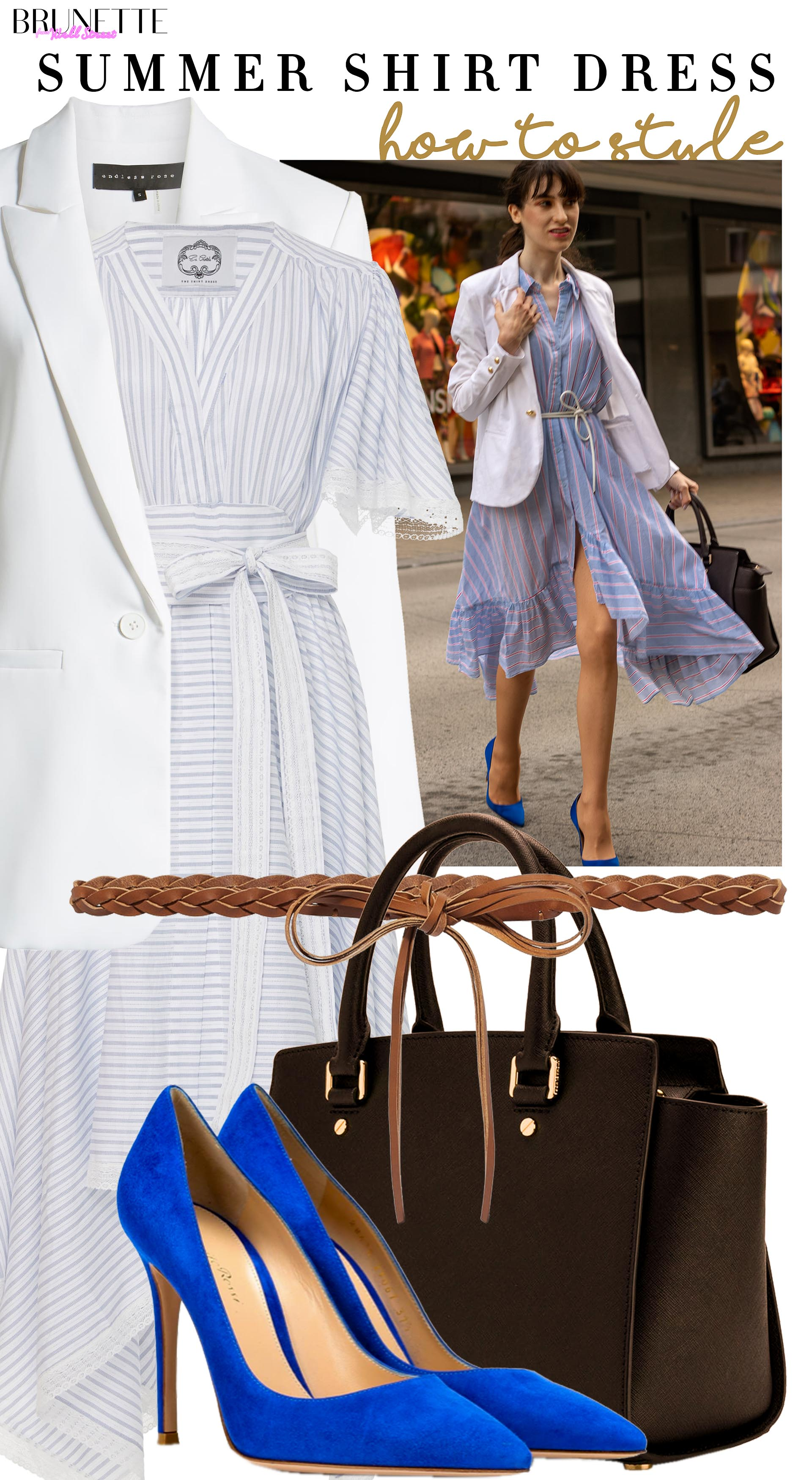 Brunette from Wall Street how to style strip summer shirtdress for work