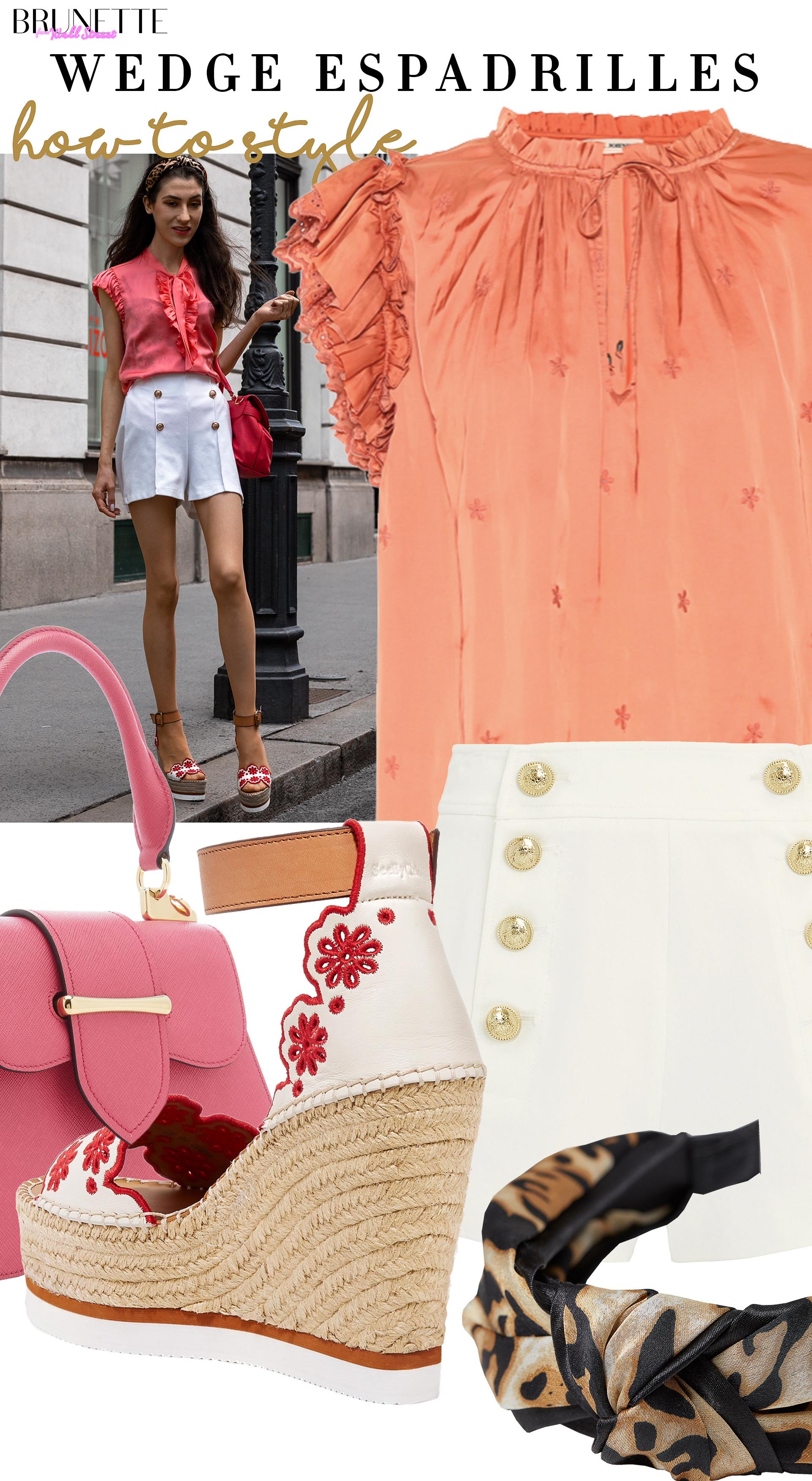 Brunette from Wall Street how to style espadrille wedhes shorts bow tie blouse prada bag leopad headband