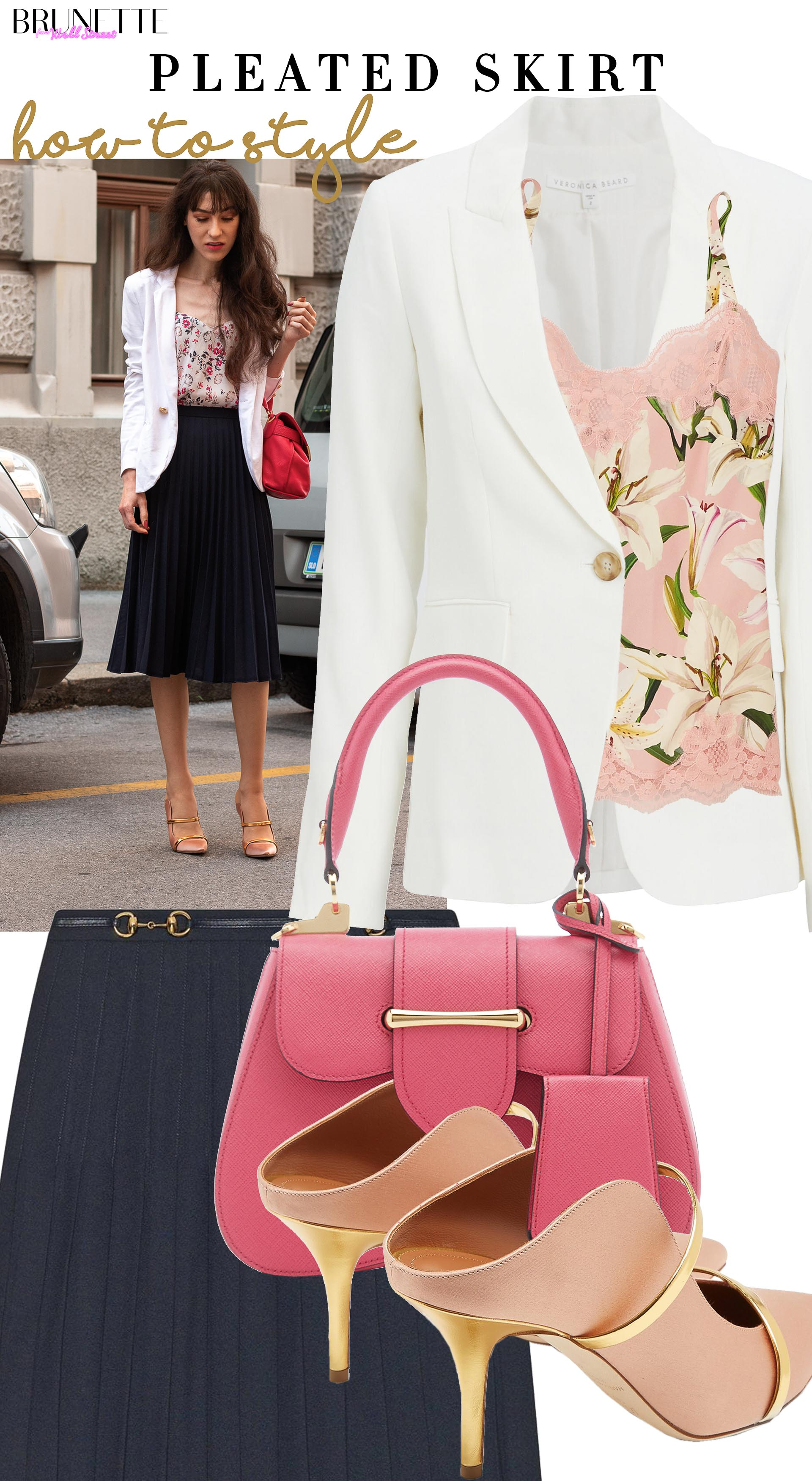 Brunette from Wall Street How to style blazer skirt camisole Mal