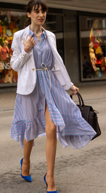 IT Girl Fashion Blogger Veronika Lipar of Brunette from Wall Street wearing white blazer stripe shirtdress Michael Kors sachtel bag Gianvito Rossi blue pumps for work in summer