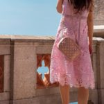 IT Girl Fashion Blogger Veronika Lipar of Brunette from Wall Street dressed in pink lave Bardot dress Stuart Weitzman nudistsong sandals quilted chain shoulder bag pearl hairlip for wedding in September
