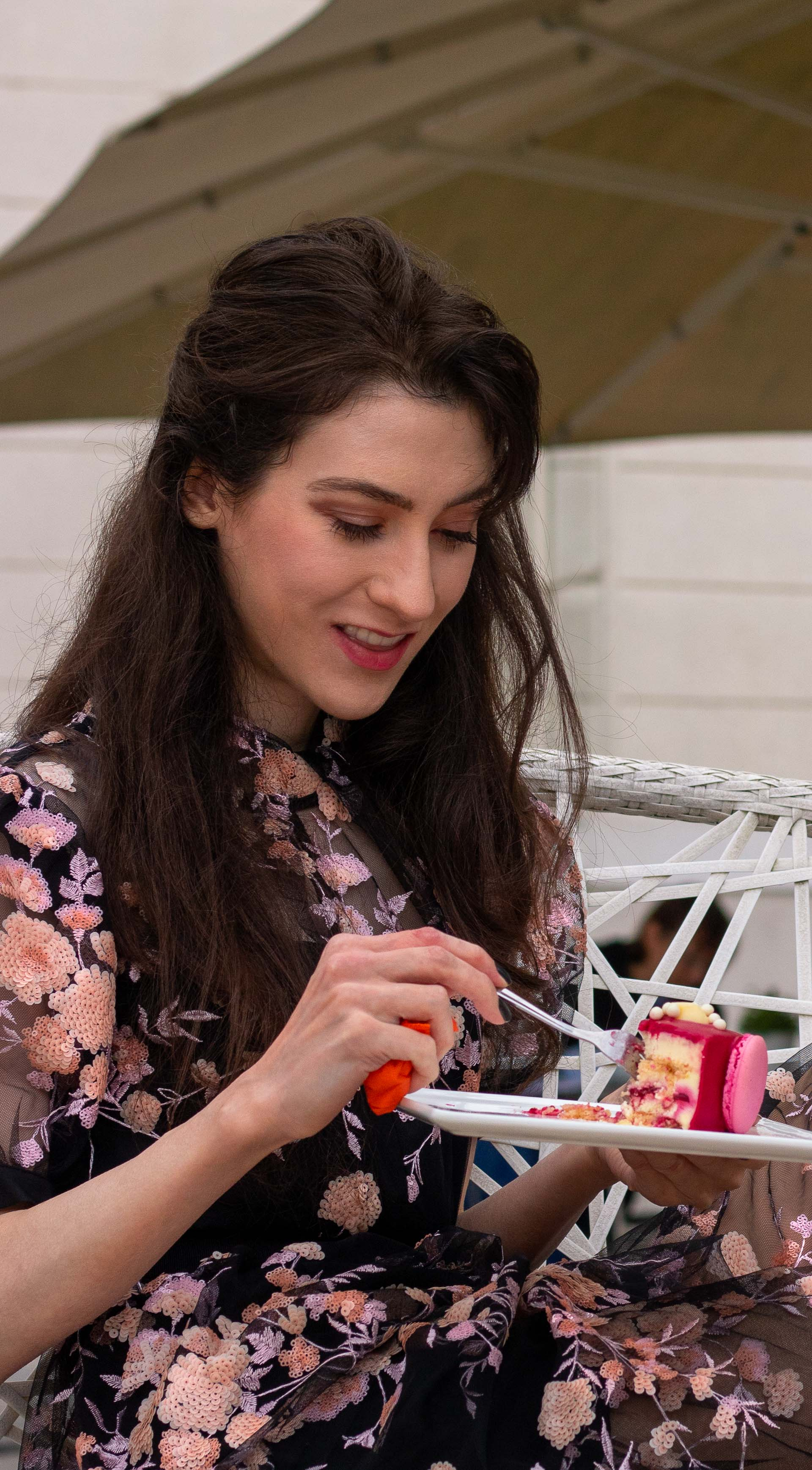Fashion blogger Veronika Lipar of Brunette from Wall Street dressed in Self Portrait Floral sequin-embellished tulle midi dress for her birthday brunch party