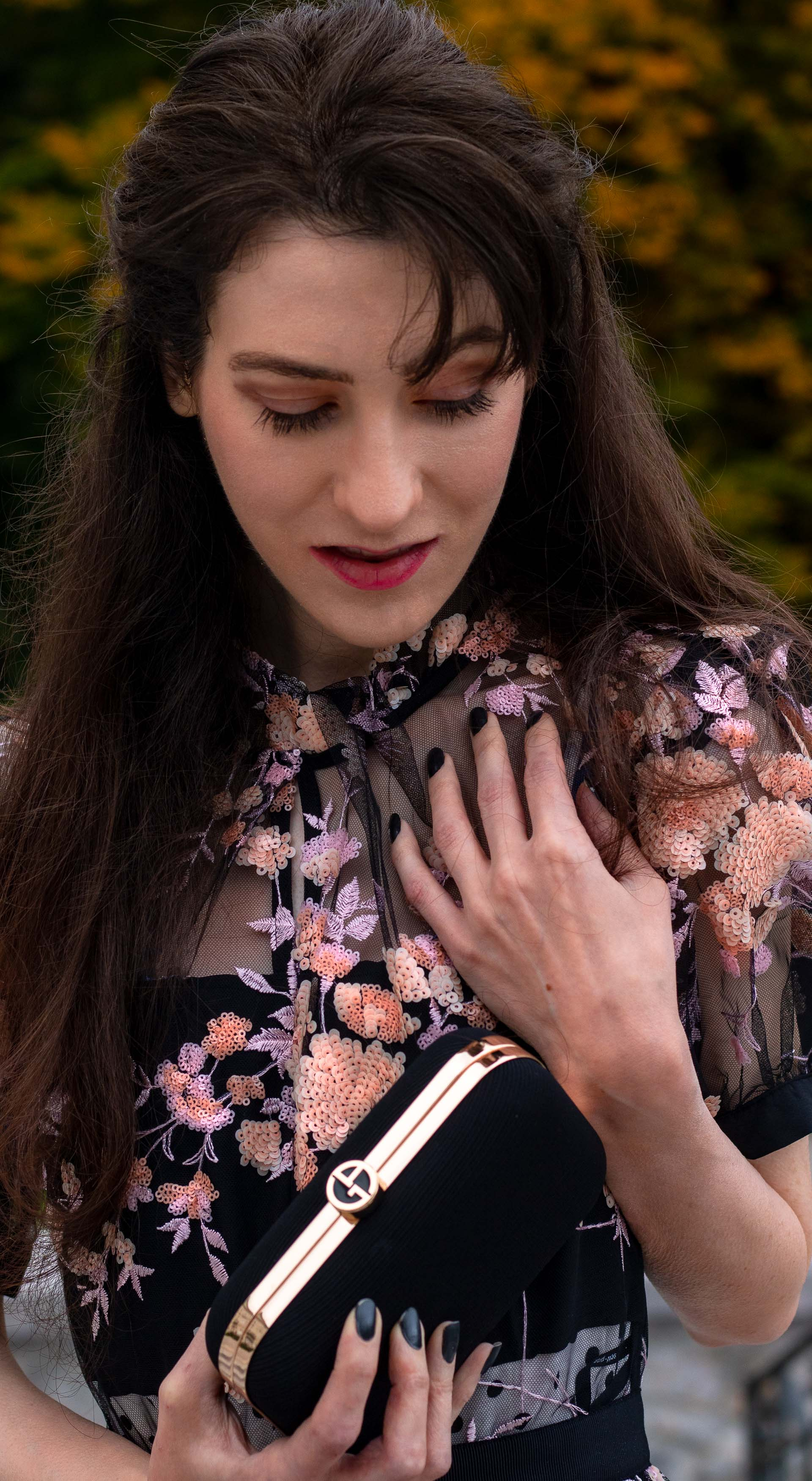 Fashion blogger Veronika Lipar of Brunette from Wall Street wearing Self Portrait black floral embroidered dress black clutch for her birthday brunch party