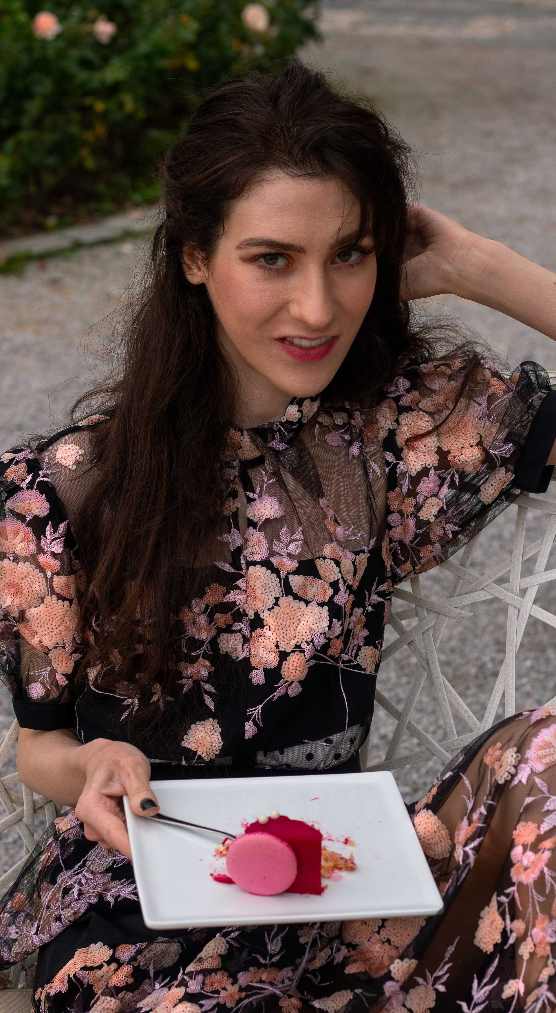 Fashion blogger Veronika Lipar of Brunette from Wall Street wearing Self Portrait black floral embroidered dress for her birthday brunch party