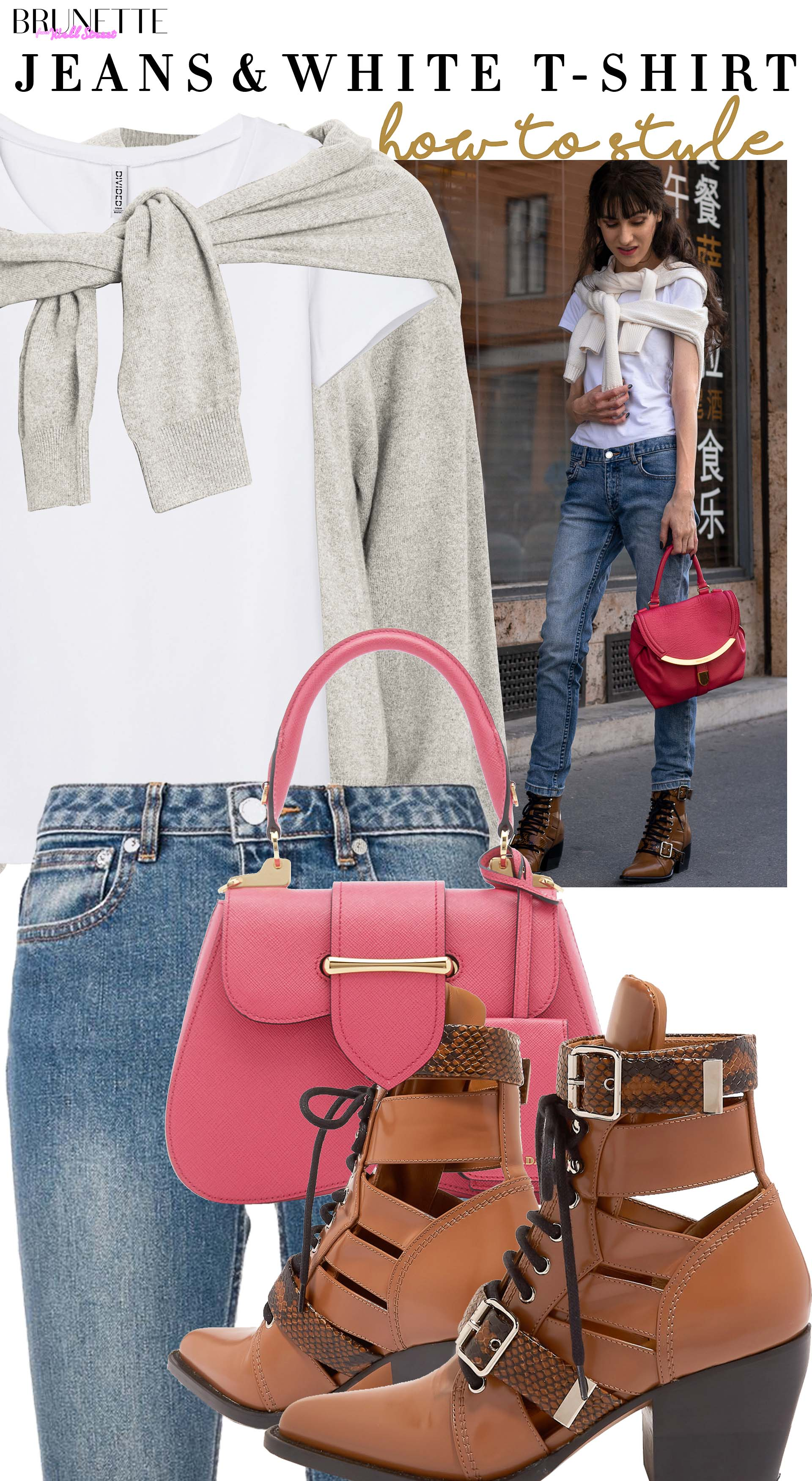 Brunette from Wall Street how to style blue jeans white T.shirt sweater set chloe rylee boots prada bag in fall