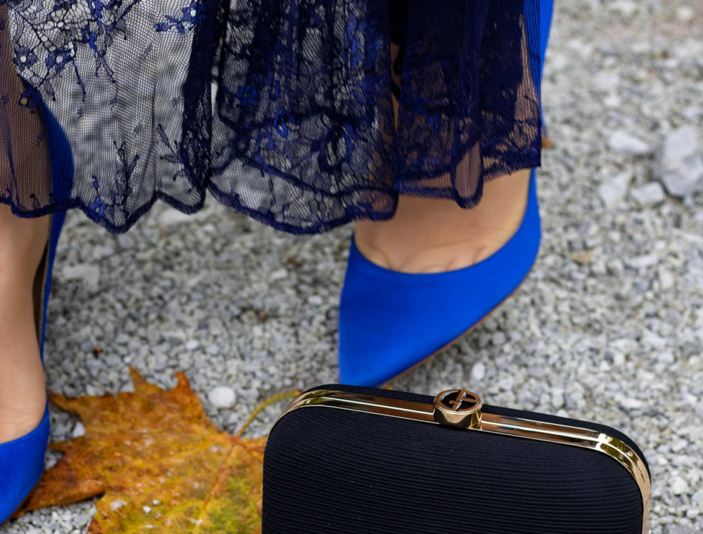 Brunette from Wall Street fall wedding blue Gianvito Rossi pumps navy Self-Portrait lace dress black clutch