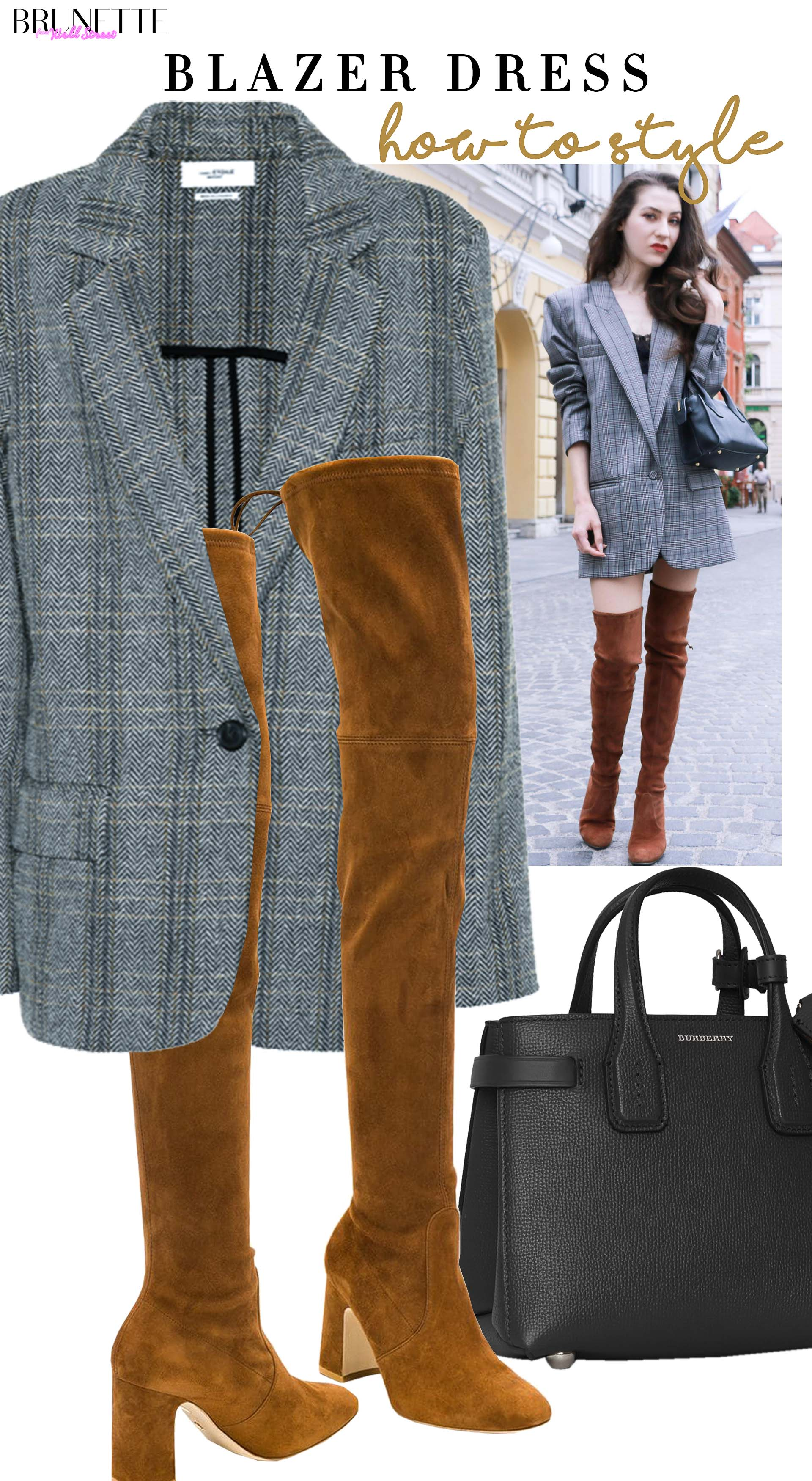Brunette from Wall Street how to style blazer dress over the knee boots for date in fall